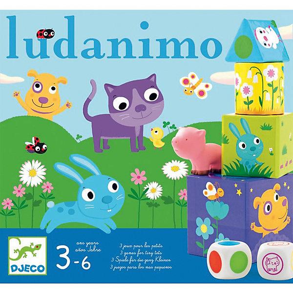 Игра Люданимо, DJECOНастольные игры для всей семьи<br>Игра на развитие памяти. <br><br>Существуют различные способы игры в Люданимо. Дети могут играть в Люданимо самостоятельно или с помощью взрослых. <br>Один из вариантов игры в Люданимо называется Прятки.<br>Взрослый прячет под 6 кубиками фигура 6 фигурок животных. <br>Первый ребенок бросает кубик, старается найти животное, выпавшее на кубике, поднимая на выбор куб фигура.<br><br>Если разыскиваемое животное это то, которое находится под кубом, он выигрывает животное и кладет его перед собой.<br>Если разыскиваемое животное не то, которое находится под кубом, или если там нет животного, бросать кубик должен следующий игрок.<br>Особый случай: Если на кубике выпадает уже найденное животное, ход переходит к следующему игроку.<br>Выигрывает ребенок, который найдет больше животных.<br><br>Дополнительная информация:<br><br>Игра содержит:<br>1 кубик животные, 1 кубик цвета, 15 кубов фигура (5 квадратов,<br>6 кругов и 4 треугольника), цвет которых определяет кружок сверху,<br>6 животных.<br><br>Размер упаковки: 30 х 28 см. <br><br><br>Интересная игра, в которой возможны различные комбинации для совместной игры!<br><br><br><br>Игру Люданимо, DJECO (Джеко) можно купить в нашем магазине.<br><br>Ширина мм: 280<br>Глубина мм: 95<br>Высота мм: 300<br>Вес г: 800<br>Возраст от месяцев: 36<br>Возраст до месяцев: 60<br>Пол: Унисекс<br>Возраст: Детский<br>SKU: 2200009