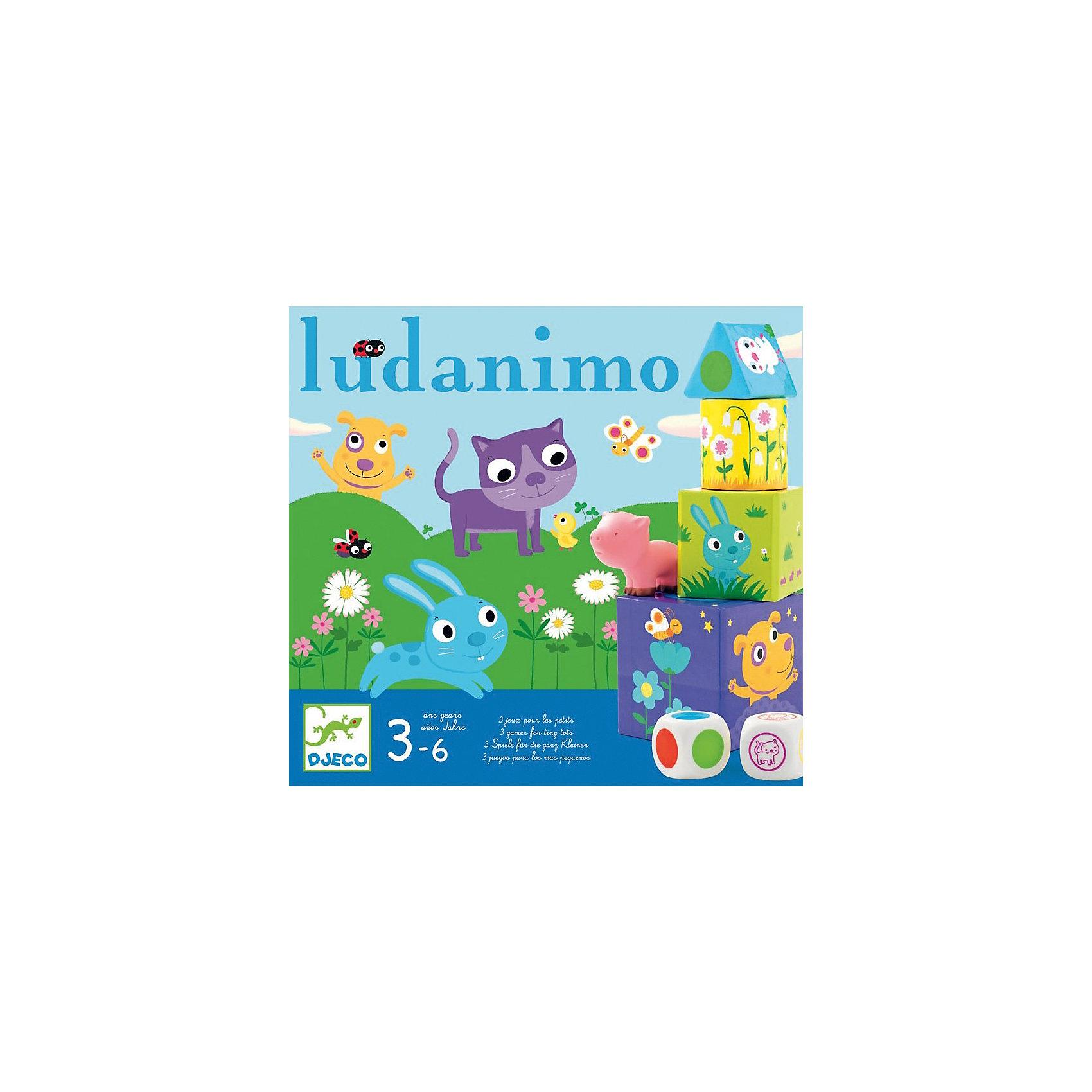 Игра Люданимо, DJECOРазвивающие игры<br>Игра на развитие памяти. <br><br>Существуют различные способы игры в Люданимо. Дети могут играть в Люданимо самостоятельно или с помощью взрослых. <br>Один из вариантов игры в Люданимо называется Прятки.<br>Взрослый прячет под 6 кубиками фигура 6 фигурок животных. <br>Первый ребенок бросает кубик, старается найти животное, выпавшее на кубике, поднимая на выбор куб фигура.<br><br>Если разыскиваемое животное это то, которое находится под кубом, он выигрывает животное и кладет его перед собой.<br>Если разыскиваемое животное не то, которое находится под кубом, или если там нет животного, бросать кубик должен следующий игрок.<br>Особый случай: Если на кубике выпадает уже найденное животное, ход переходит к следующему игроку.<br>Выигрывает ребенок, который найдет больше животных.<br><br>Дополнительная информация:<br><br>Игра содержит:<br>1 кубик животные, 1 кубик цвета, 15 кубов фигура (5 квадратов,<br>6 кругов и 4 треугольника), цвет которых определяет кружок сверху,<br>6 животных.<br><br>Размер упаковки: 30 х 28 см. <br><br><br>Интересная игра, в которой возможны различные комбинации для совместной игры!<br><br><br><br>Игру Люданимо, DJECO (Джеко) можно купить в нашем магазине.<br><br>Ширина мм: 280<br>Глубина мм: 95<br>Высота мм: 300<br>Вес г: 800<br>Возраст от месяцев: 36<br>Возраст до месяцев: 60<br>Пол: Унисекс<br>Возраст: Детский<br>SKU: 2200009