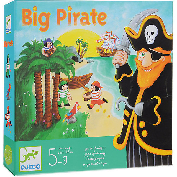Игра Большой пират, DJECOПираты<br>Увлекательная настольная игра  Большой пират DJECO (Джеко) развивает логику, внимательность и стратегическое мышление. В игре могут принимать участие от 2 до 4 игроков. Все игроки делятся на пиратов и юнг. Юнги получают карточки с изображением попугая и кокосовой пальмы, а пирату достается пещера, сундук с сокровищами и черный кубик.<br>Игроки, начиная с юнг, бросают кубик и передвигаются на выпавшее количество ячеек на поле. Тот, кто добрался до пещеры, забирает с собой один сундук и пытается унести его в лодку. При этом важно не попасться в руки пирату.<br><br>Дополнительная информация:<br><br>- В комплекте: красочное игровое поле, 1 фигурка пирата, 3 фигурки юнги, 3 сундука с сокровищами, 7 потайных мест (пальм), 9 карточек пальма, 4 карточки попугай, 1 кубик<br>  пирата и 1 кубик юнги. <br>- Материал: картон.<br>- Размер упаковки: 30 х 28 х 6,5см.<br>- Вес: 1,160 кг.<br><br>Игру Большой пират DJECO (Джеко) можно купить в нашем магазине.<br><br>Ширина мм: 280<br>Глубина мм: 65<br>Высота мм: 300<br>Вес г: 700<br>Возраст от месяцев: 60<br>Возраст до месяцев: 144<br>Пол: Мужской<br>Возраст: Детский<br>SKU: 2200011