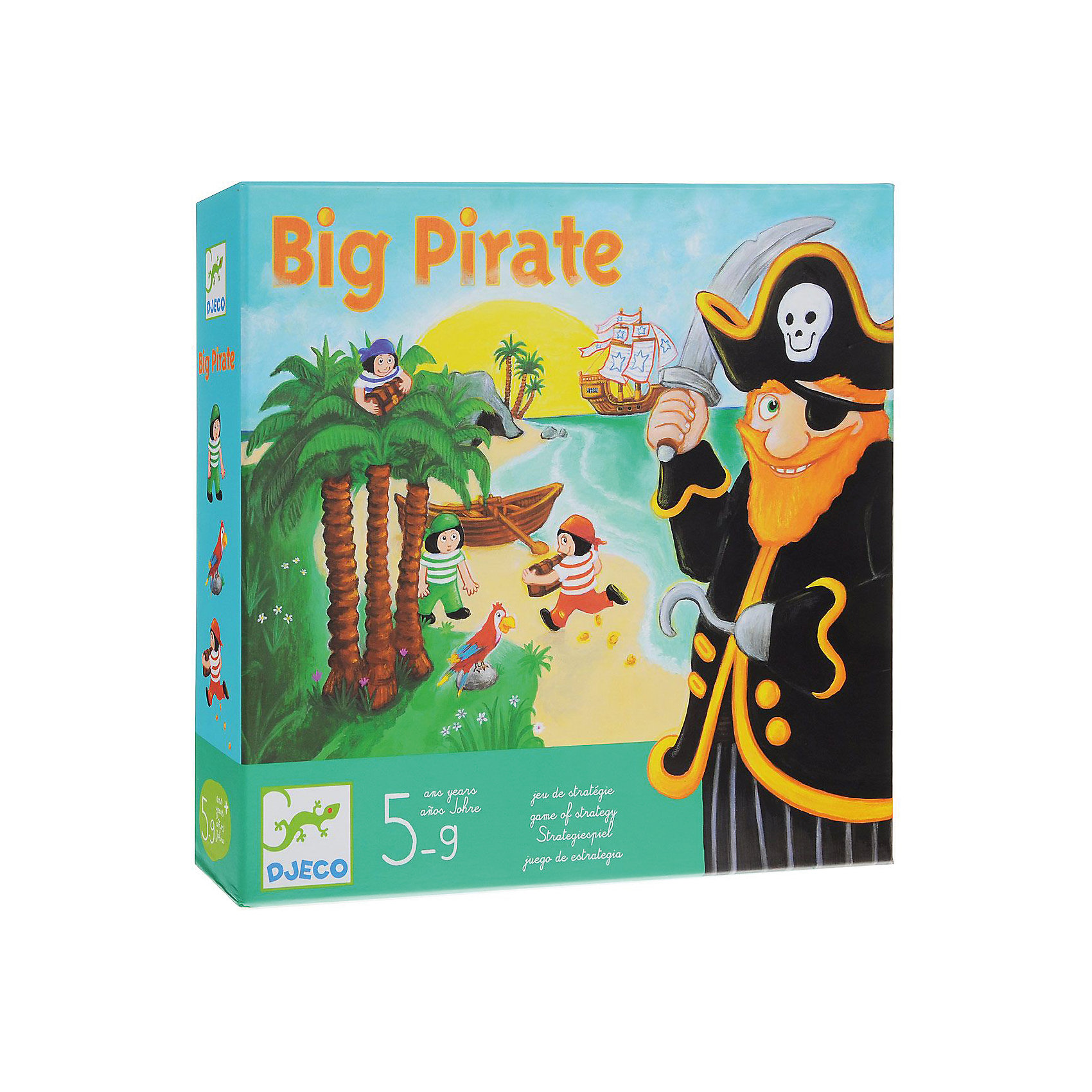 Игра Большой пират, DJECOНастольные игры ходилки<br>Увлекательная настольная игра  Большой пират DJECO (Джеко) развивает логику, внимательность и стратегическое мышление. В игре могут принимать участие от 2 до 4 игроков. Все игроки делятся на пиратов и юнг. Юнги получают карточки с изображением попугая и кокосовой пальмы, а пирату достается пещера, сундук с сокровищами и черный кубик.<br>Игроки, начиная с юнг, бросают кубик и передвигаются на выпавшее количество ячеек на поле. Тот, кто добрался до пещеры, забирает с собой один сундук и пытается унести его в лодку. При этом важно не попасться в руки пирату.<br><br>Дополнительная информация:<br><br>- В комплекте: красочное игровое поле, 1 фигурка пирата, 3 фигурки юнги, 3 сундука с сокровищами, 7 потайных мест (пальм), 9 карточек пальма, 4 карточки попугай, 1 кубик<br>  пирата и 1 кубик юнги. <br>- Материал: картон.<br>- Размер упаковки: 30 х 28 х 6,5см.<br>- Вес: 1,160 кг.<br><br>Игру Большой пират DJECO (Джеко) можно купить в нашем магазине.<br><br>Ширина мм: 280<br>Глубина мм: 65<br>Высота мм: 300<br>Вес г: 700<br>Возраст от месяцев: 60<br>Возраст до месяцев: 144<br>Пол: Мужской<br>Возраст: Детский<br>SKU: 2200011