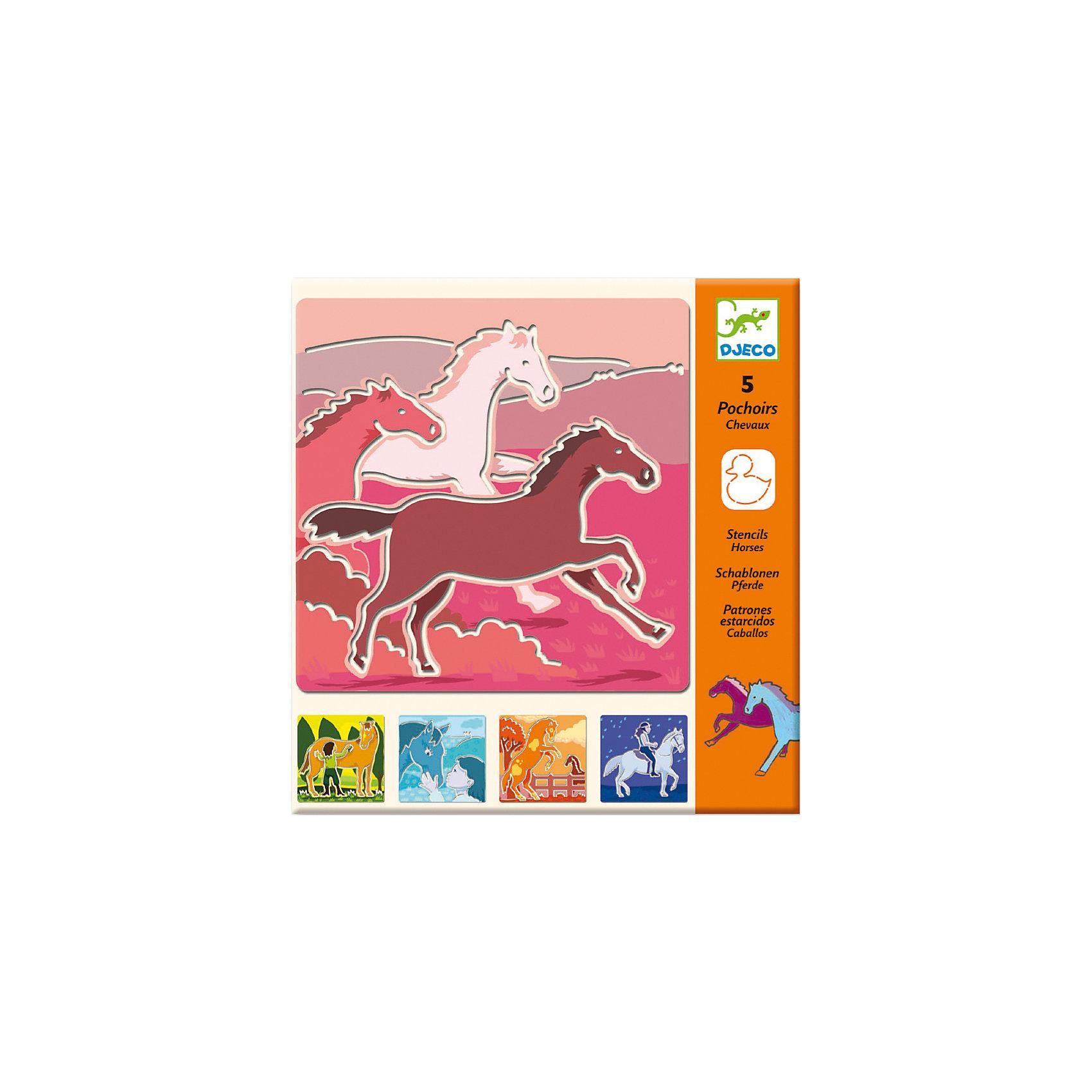 DJECO Набор трафаретов ЛошадиНабор состоит из 5 трафаретов, изображающих лошадей.<br><br>Просто обведите фигуры по контуру карандашом или фламастером и раскрасте их по желанию. И каждый раз у вас будет получаться новая веселая картинка, которую можно повесить в рамку, или украсить ею тетрадку. <br><br>Дополнительная информация:<br><br>Размеры упаковки (д/ш/в): 23 х 0,2 х 21,5 см.<br><br>Отличный подарок для детей, которым очень нравятся лошади!<br><br>DJECO (Джеко) Набор трафаретов Лошади можно купить в нашем магазине.<br><br>Ширина мм: 230<br>Глубина мм: 2<br>Высота мм: 215<br>Вес г: 100<br>Возраст от месяцев: 72<br>Возраст до месяцев: 108<br>Пол: Женский<br>Возраст: Детский<br>SKU: 2200033