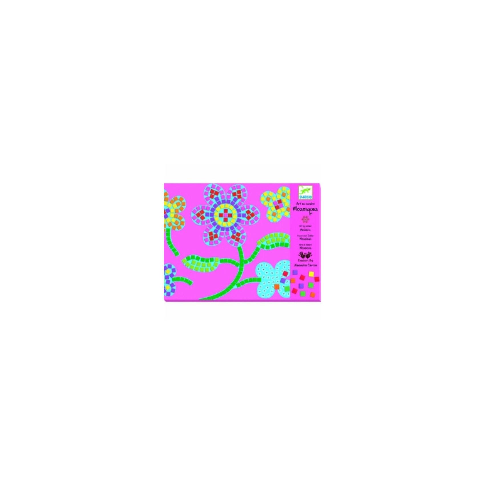 Мозаика Цветы, DJECOМозаика<br>Увлекательный набор Цветы DJECO (Джеко) познакомит ребенка с искусством мозаики. С помощью необходимых деталей можно создать две красочные картинки-мозаики с изображениями цветов. Изготовить мозаику несложно – надо на контур в соответствии с цифрами наклеить цветные квадратики, имитирующие кусочки смальты. Цветовую гамму ребенок может выбрать самостоятельно, согласно своей творческой фантазии.<br><br>Дополнительная информация:<br><br>- В комплекте: 2 картинки-базы, 8 листов с мягкими наклейками, подробная инструкция.<br>- Материал: картон.<br>- Размер упаковки: 1,2 х 21,2 х 28,1см.<br>- Вес: 0,194 кг. <br><br>Пазл Цветы DJECO (Джеко) можно купить в нашем магазине.<br><br>Ширина мм: 212<br>Глубина мм: 12<br>Высота мм: 282<br>Вес г: 350<br>Возраст от месяцев: 72<br>Возраст до месяцев: 144<br>Пол: Женский<br>Возраст: Детский<br>SKU: 2200037