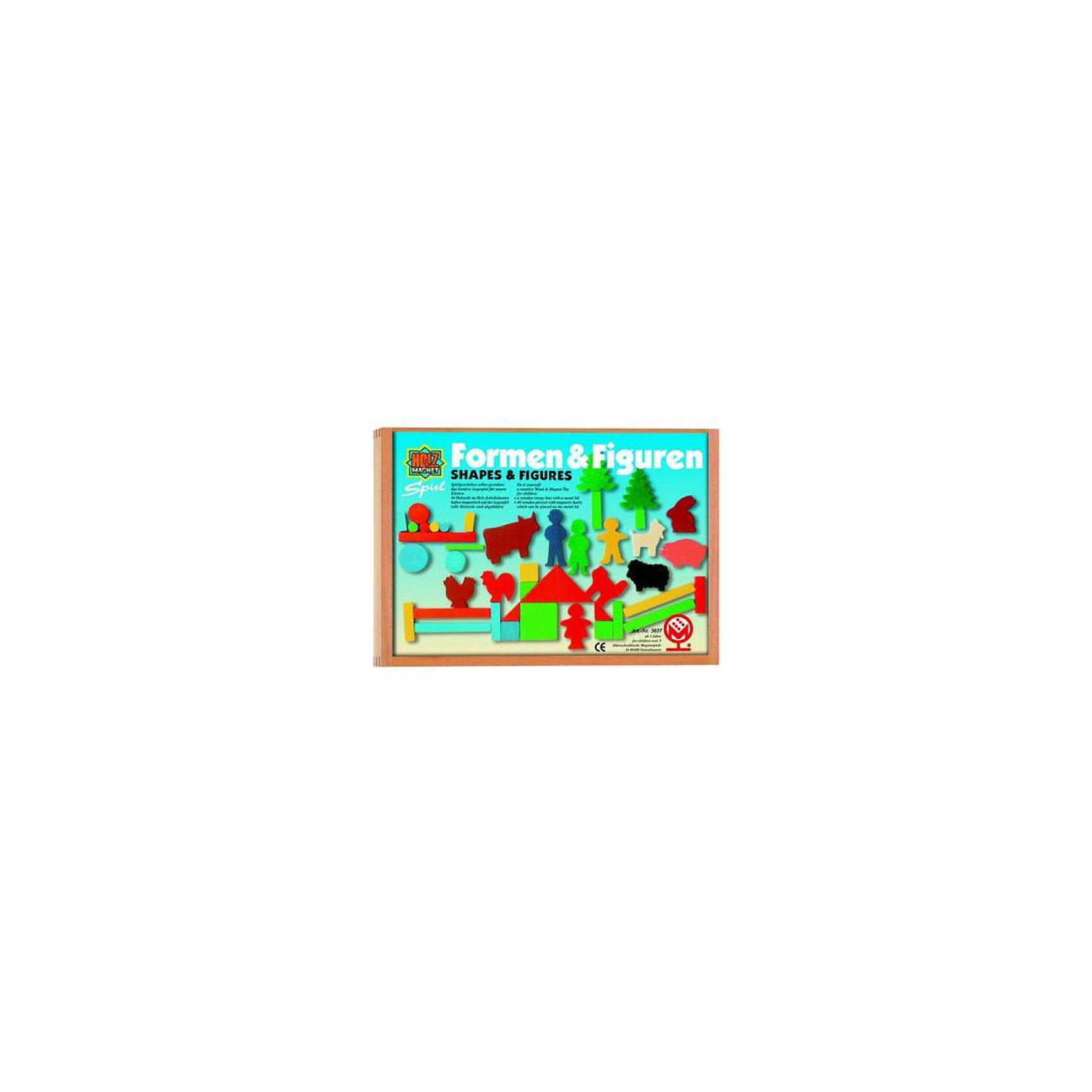 Магнитная игра с полем фигурами и формами, MagnetspieleМагнитная игра с полем фигурами и формами 44 предмета 20 х 30 см (Дерево) Данный набор не только знакомит ребенка с геометрическими формами, но и тренирует абстрактное мышление. С помощью этих фигурок можно так же строить домики, создать свою ферму и играть в ролевые игры. Магнитная доска в комплекте. Все элементы выполнены из экологически чистого материала.<br><br>Ширина мм: 300<br>Глубина мм: 30<br>Высота мм: 200<br>Вес г: 350<br>Возраст от месяцев: 24<br>Возраст до месяцев: 48<br>Пол: Унисекс<br>Возраст: Детский<br>SKU: 2200284