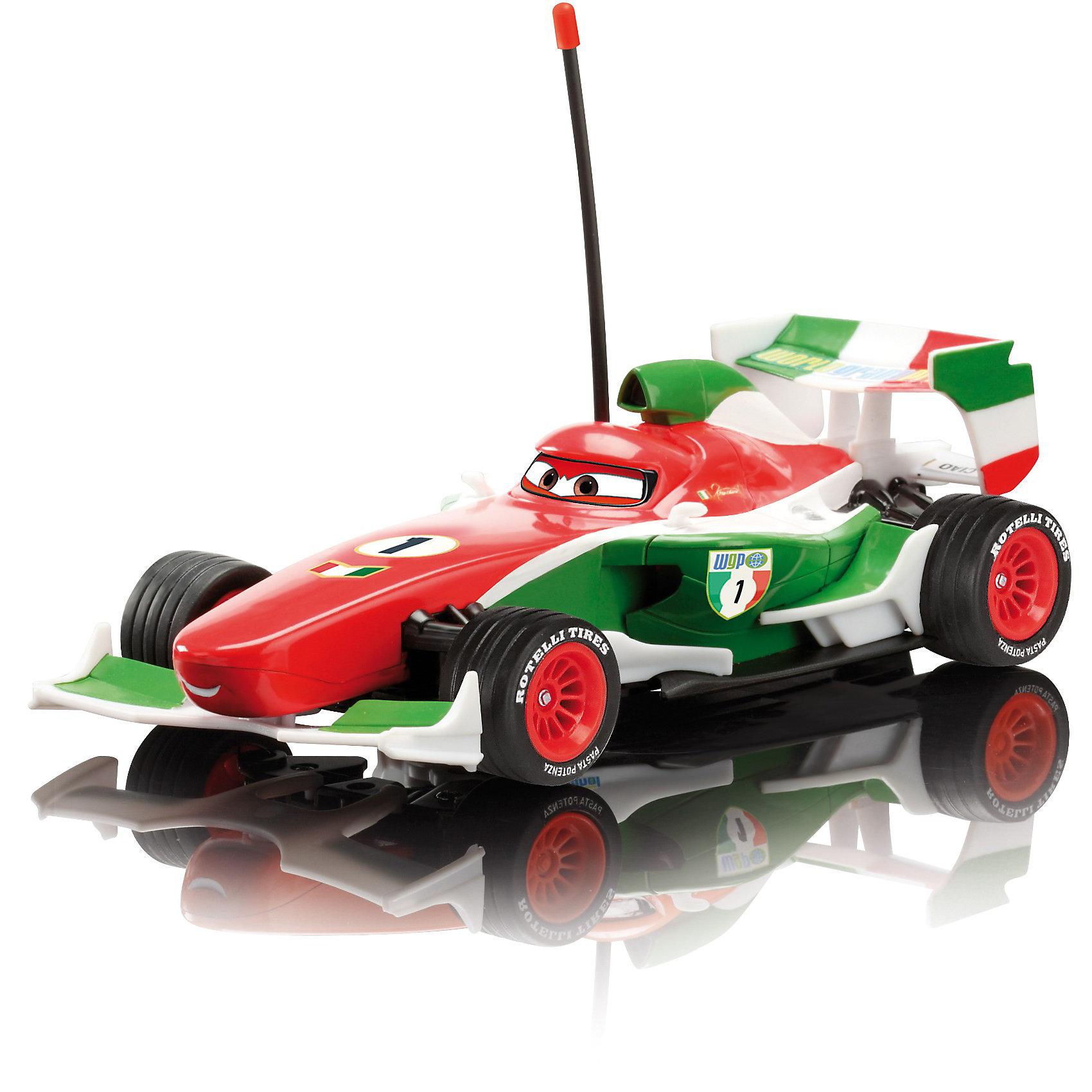 Радиоуправляемая машина Франческо, Тачки, 19 смРадиоуправляемый транспорт<br>Радиоуправляемая машина Франческо Dickie из мультфильма Тачки (Cars) порадует всех юных поклонников  мультсериала. Франческо Бернулли - один из персонажей мультфильма, гоночная машина, претендующая на победу в Гран При, является главным соперником и конкурентом Молнии МакКуина. Внешний вид автомобиля полностью соответствует своему мультперсонажу.<br><br>Управляется машина с помощью пульта, который оснащен гибкими антеннами с пластмассовыми наконечниками, может постепенно разгонятся и ехать назад-вперед, влево-вперед, вправо-вперед, влево-назад, вправо-назад. Автомобиль оснащен прорезиненными большими колесами с красными дисками. <br><br>Двухканальное управление, частота 27+40 МГц. .<br><br>Дополнительная информация:<br><br>- Материал: пластмасса. <br>- Требуются батарейки: 3хААА – для пульта, 2хАА – для машинки (в комплект не входят). <br>- Размер игрушки: 19 см.<br>- Размер упаковки: 28,3 х 14,2 х 14 см.<br>- Вес: 0,506 кг.<br><br>Радиоуправляемую машину Франческо (Тачки (Cars)) Dickie можно купить в нашем интернет-магазине.<br><br>Ширина мм: 283<br>Глубина мм: 142<br>Высота мм: 140<br>Вес г: 506<br>Возраст от месяцев: 72<br>Возраст до месяцев: 1164<br>Пол: Мужской<br>Возраст: Детский<br>SKU: 2200378