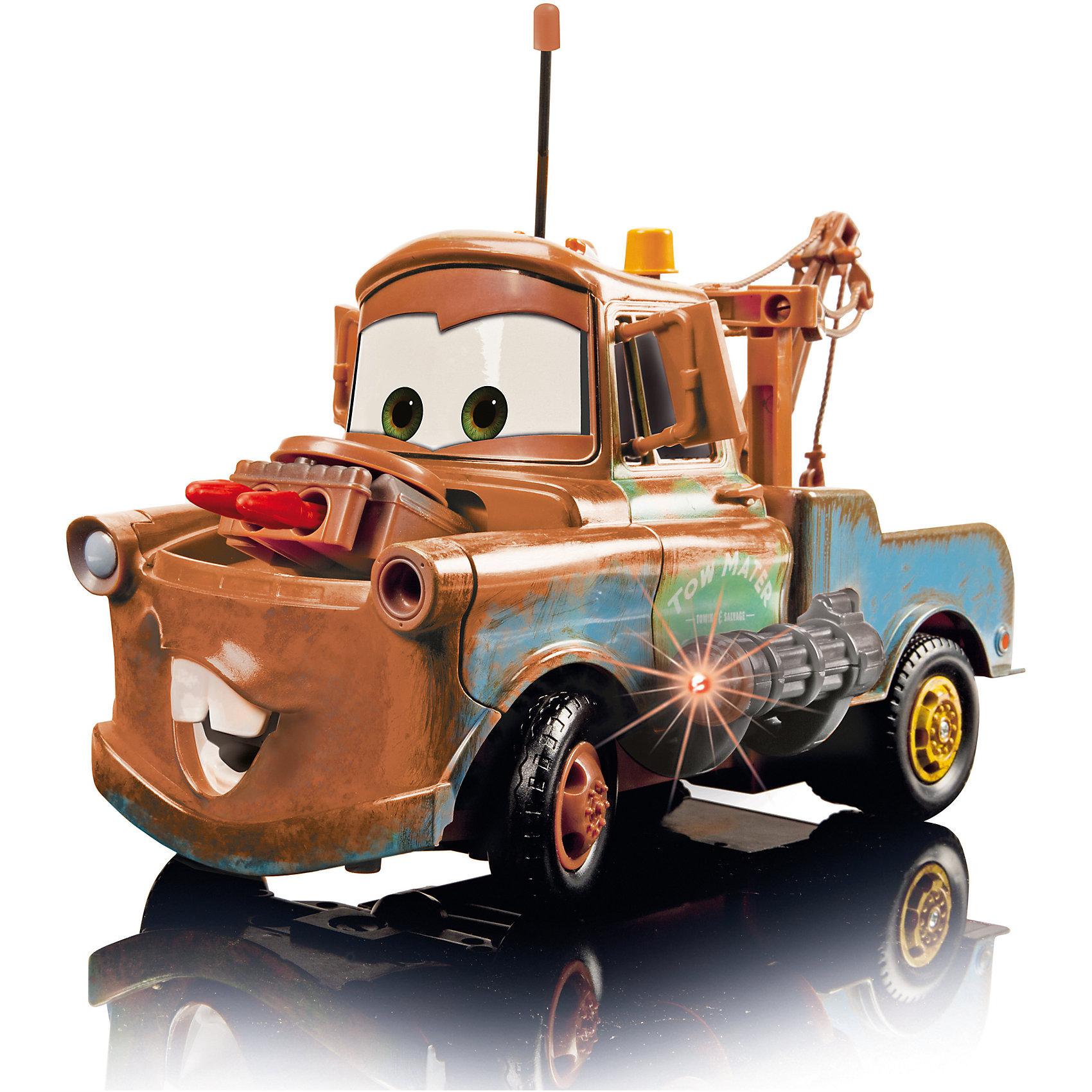 Машинка Мэтр. Тачки на р/у, 29 см, DICKIEМашинка Мэтр. Тачки, Dickie, на радиоуправлении станет отличным подарком для всех юных автолюбителей, это замечательная игрушка для активных подвижных игр, с которой можно играть как дома, так и на улице. Машинка выполнена в виде веселого ржавого тягача Мэтра - популярного героя диснеевского мультфильма Тачки (Cars). Модель отличается высокой степенью детализации и полностью воспроизводит внешний вид своего персонажа, имеет большие прорезиненные колеса с желто-оранжевыми дисками. Мэтр оснащен шпионским оружием: спереди спрятаны пушки, стреляющие ракетами, а по бокам лазерные пулеметы. Стрельба из пулеметов сопровождается звуковыми и световыми эффектами. Автомобиль управляется с помощью пульта радиоуправления и может двигаться во всех направлениях. Две большие кнопки на торце пульта отвечают за запуск ракет и стрельбу из пулемета. Радиус действия пульта управления до 20 м. Благодаря возможности работы на двух разных частотах 27МГц и 40МГц, можно играть двумя машинками одновременно.<br><br>Дополнительная информация:        <br><br>- В комплекте: машина, пульт управления, инструкция.<br>- Материал: пластик. <br>- Требуются батарейки: пульт управления - 2 х АА LR6 (пальчиковые), машинка - 6 х АА LR6 ( пальчиковые) (батарейки в комплект не входят).<br>- Размер машины: 29 см.<br>- Размер упаковки: 46 х 24 х 22 см.<br>- Вес: 1,65 кг.<br><br>Машинку Мэтр. Тачки, DICKIE можно купить в нашем интернет-магазине.<br><br>Ширина мм: 460<br>Глубина мм: 242<br>Высота мм: 220<br>Вес г: 1654<br>Возраст от месяцев: 72<br>Возраст до месяцев: 1164<br>Пол: Мужской<br>Возраст: Детский<br>SKU: 2200380