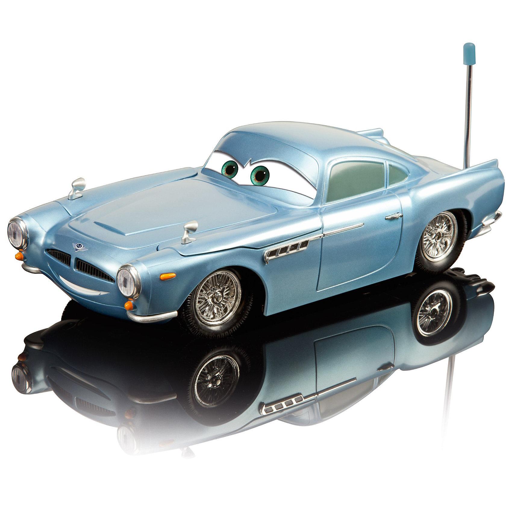 Финн на р/у (свет+звук), Тачки, 1:16, 29 смАвтомобиль Финн  (Finn) Dickie на радиоуправлении порадует всех юных поклонников  мультсериала Тачки (Cars). Финн - машина британский шпион, который любит использовать различные технические приспособления, имеет полный арсенал оружия, даже ракетную пусковую установку.<br><br>Машинка оснащена передними пушками, которые стреляют ракетами и задними пушками со световыми и звуковыми эффектами. Управление при помощи рычагов на пульте: машинку можно передвигать назад, вперед, влево и вправо. Есть кнопка, которая открывает справа и слева грязезащитные крылья, из которых вылетают ракеты, защищающие от злодеев. Багажник оснащен лазерной пушкой. <br><br>Частота 27+40 МГц.<br><br>Дополнительная информация:<br><br>- Масштаб: 1:16.<br>- Материал: высококачественный пластик.<br>- Требуются батарейки: в пульт - 2 х LR6(AA), в машину - 6 х LR6(AA) в комплект не входят.<br>- Размер машины: 29 см.<br>- Размер упаковки: 46 х 22,7 х 17,2 см.<br>- Вес: 1,245 кг. <br><br>Машинка Финн (Тачки (Cars)) на радиоуправлении Dickie можно купить в нашем интернет-магазине.<br><br>Ширина мм: 460<br>Глубина мм: 227<br>Высота мм: 172<br>Вес г: 1245<br>Возраст от месяцев: 72<br>Возраст до месяцев: 1164<br>Пол: Мужской<br>Возраст: Детский<br>SKU: 2200381