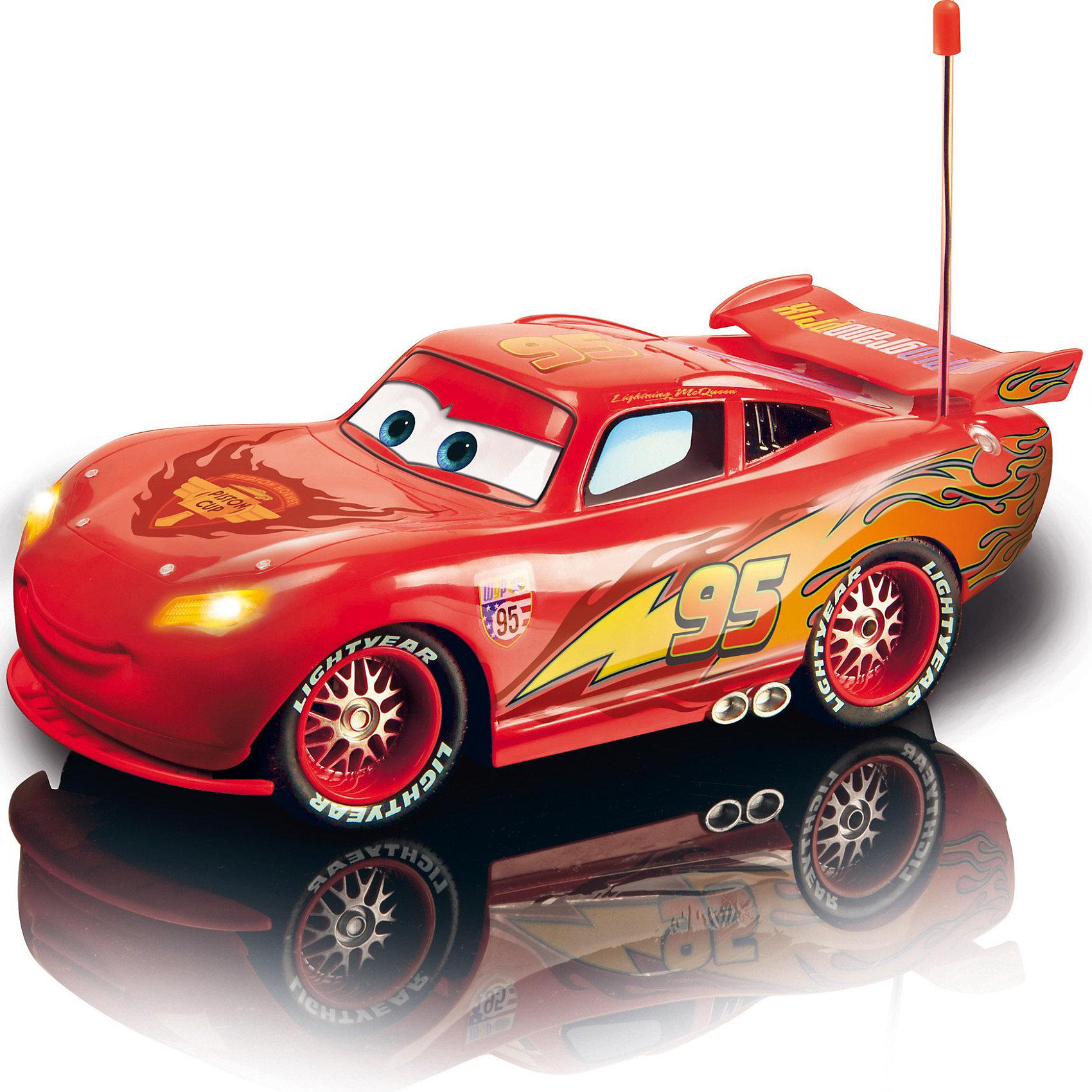 Машинка Молния МакКуин на р/у, Тачки, 35 смDickie Игрушка машина Молния МакКуин на р/у, 1:12, 35 см - многофункциональный автомобиль, оформленный в стиле мультфильма Тачки (Cars)! <br><br>С дистанционным управлением, выполненным в форме руля,  3 каналами управления движением, светом, звуком, тормозами, имитацией работающего двигателя (виброфункция)! <br><br><br>Особенности модели: <br><br>- 7 функций движения (вперед/назад, вправо/влево, ускорение, стоп, вращение на 360 градусов).<br>- Отдельное включение передних и задних фар.<br>- Кольцевая езда.<br>- Торможение.<br>- Покачивание.<br>- Звуковые эффекты<br>- Цифровое управление пропорциональной скоростью.<br>- Скоростной мотор.<br>- Точная настройка управления.<br>- Шикарные резиновые покрышки, пятое колесо сзади (для кольцевой езды).<br><br><br>Управление с пульта: <br><br>- 2 джойстика (вправо/влево и вперед/назад), Чем больше отклонять, тем быстрее едет машинка<br>- для кольцевой езды нужно поворачивать сам пульт в одну или другую сторону!<br>- 5 свето-звуковых кнопок: включение передних и задних фар, включение кольцевое езды, торможение, покачивание.<br>– готовность к старту, выключение звуковых эффектов. <br><br>Дополнительная информация:<br><br>- В комплекте: машинка Молния МакКуин; пульт дистанционного управления; инструкция на русском языке. <br>- Материал: пластмасса.<br>- Масштаб: 1:12.<br>- Работа на 2х частотах: 27 или 40 МГц. ( к сожалени<br>- Батарейки 3хАА – для пульта, 8хАА – для машинки (в комплект не входят). <br>- Размер игрушки, д х ш х в: машинка – 35 х17х11h см, пульт – 16х14х6 см. <br>- Размер упаковки: 50х24х20 см. <br>- Вес с упаковкой: 1,8 кг. <br><br>Отличный подарок для вашего ребенка, который позволит ему почувствовать себя настоящим водителем! Увлекательная игрушка, способствующая развитию воображения , моторики и ловкости ребенка.<br><br>Ширина мм: 500<br>Глубина мм: 242<br>Высота мм: 201<br>Вес г: 1747<br>Возраст от месяцев: 72<br>Возраст до месяцев: 1164<br>Пол: Мужской<br>Возраст: 
