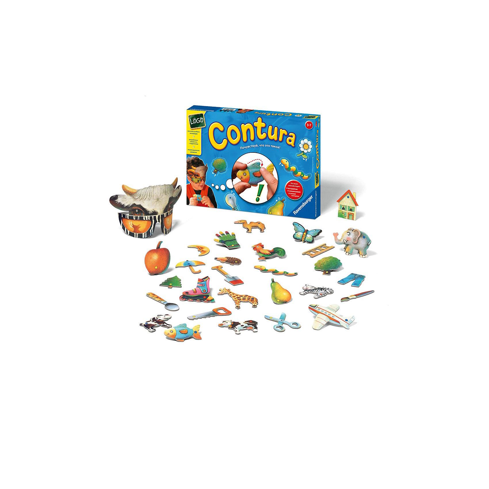 Настольная игра Контуры, RavensburgerИгры для дошкольников<br>Настольная игра Контуры (Contura) от Ravensburger - почувствуй, что это такое!<br><br>Контуры (Contura) - это классическая игра с множеством игровых возможностей, как для одного игрока, так и для нескольких. Она требует концентрации, внимания и способствует развитию мелкой моторики рук!<br><br>Правила игры:<br><br>Игроки по очереди надевают маски и пытаются по контуру фигурки определить, что это такое. Выигрывает игрок, отгадавший больше всего фигур.<br><br>Также возможны другие вариации:<br><br>- Лото. Игрокам раздаются таблички. Ведущий вытаскивает из коробки фигурки, и участник, к чьей табличке подходит выпавшая фигурка, забирает ее.<br>- Лото на ощупь. Задача та же, что и в предыдущей версии лото, только теперь фигурки надо угадывать с закрытыми глазами на ощупь.<br><br>Фигуры также можно использовать как трафареты.<br>Игра выполнена из плотного высококачественного картона и прослужит Вам долго.<br><br><br>Дополнительная информация:<br><br>В комплекте:<br>- две маски<br>- 40 фигур из плотного картона.<br><br>Количество игроков: 1-4.<br><br>Ширина мм: 330<br>Глубина мм: 225<br>Высота мм: 50<br>Вес г: 700<br>Возраст от месяцев: 36<br>Возраст до месяцев: 84<br>Пол: Унисекс<br>Возраст: Детский<br>SKU: 2206779