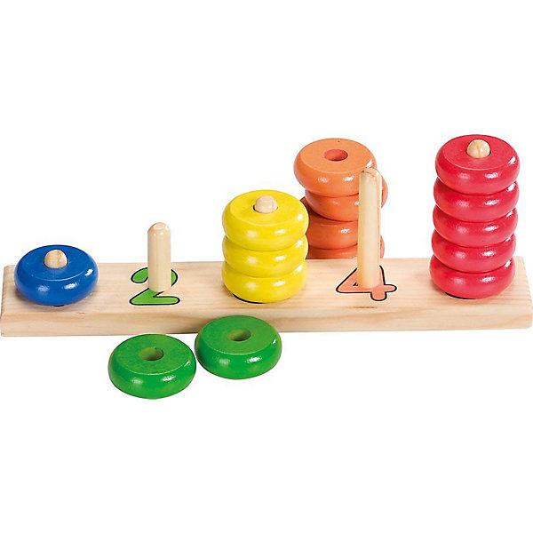 Сортировщик-пирамидка с кольцами Учись считать, gokiРазвивающие игрушки<br>Сортировщик-пирамидка с кольцами Учись считать, goki<br><br>Характеристики:<br>- Материал: дерево <br>- Размер: 27 * 5 * 9,5 см. <br><br>Сортировщик-пирамидка с кольцами Учись считать, от немецкого бренда развивающих товаров для детей goki (гоки) станет отличным другом малыша. Пять цветов колечек совпадают пяти пирамидкам с цифрами покрашенными в соответствующий колечкам цвет. Игрушка изготовлена из экологически чистого и безопасного материала – дерева. Игрушка окрашена нетоксичными и безопасными красками и отлично отшлифована. Если малыш уже знаком с классической пирамидкой, то этот сортировщик будет отличным дополнением, также сортировщик-пирамидка будет интересна и как первая пирамидка крохи. С помощью этой игрушки ребенок разовьет логику, моторику рук, научится цветам и счету до пяти. Сортировщик-пирамидка отлично подойдет как девочкам, так и мальчикам.<br><br>Сортировщик-пирамидку с кольцами Учись считать, goki (гоки) можно купить в нашем интернет-магазине.<br>Подробнее:<br>• Для детей в возрасте: от 3 до 6 лет <br>• Номер товара: 2207672<br>Страна производитель: Германия<br>Ширина мм: 270; Глубина мм: 50; Высота мм: 95; Вес г: 400; Возраст от месяцев: 36; Возраст до месяцев: 72; Пол: Унисекс; Возраст: Детский; SKU: 2207672;