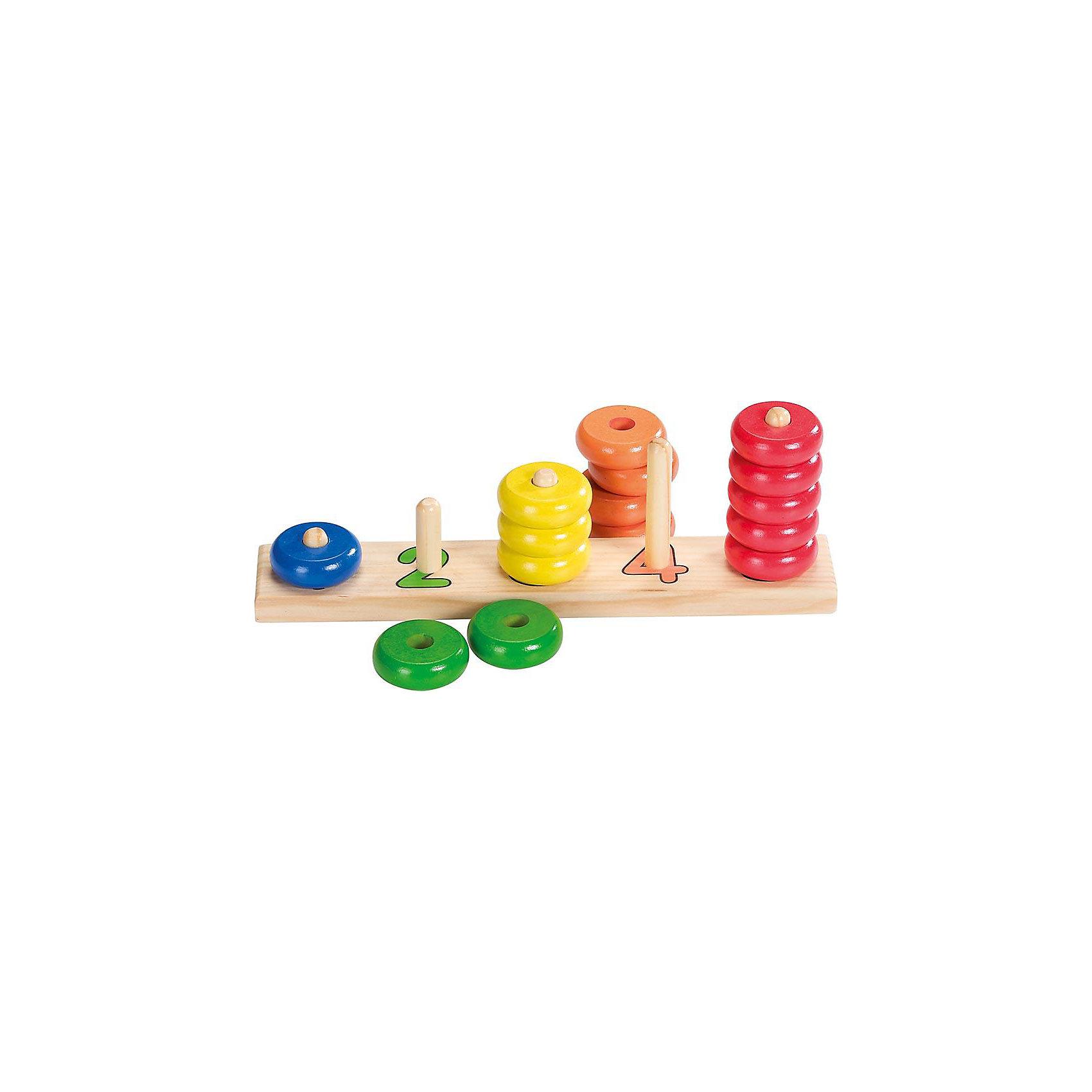 Сортировщик-пирамидка с кольцами Учись считать, gokiРазвивающие игры<br>Сортировщик-пирамидка с кольцами Учись считать, goki<br><br>Характеристики:<br>- Материал: дерево <br>- Размер: 27 * 5 * 9,5 см. <br><br>Сортировщик-пирамидка с кольцами Учись считать, от немецкого бренда развивающих товаров для детей goki (гоки) станет отличным другом малыша. Пять цветов колечек совпадают пяти пирамидкам с цифрами покрашенными в соответствующий колечкам цвет. Игрушка изготовлена из экологически чистого и безопасного материала – дерева. Игрушка окрашена нетоксичными и безопасными красками и отлично отшлифована. Если малыш уже знаком с классической пирамидкой, то этот сортировщик будет отличным дополнением, также сортировщик-пирамидка будет интересна и как первая пирамидка крохи. С помощью этой игрушки ребенок разовьет логику, моторику рук, научится цветам и счету до пяти. Сортировщик-пирамидка отлично подойдет как девочкам, так и мальчикам.<br><br>Сортировщик-пирамидку с кольцами Учись считать, goki (гоки) можно купить в нашем интернет-магазине.<br>Подробнее:<br>• Для детей в возрасте: от 3 до 6 лет <br>• Номер товара: 2207672<br>Страна производитель: Германия<br><br>Ширина мм: 270<br>Глубина мм: 50<br>Высота мм: 95<br>Вес г: 400<br>Возраст от месяцев: 36<br>Возраст до месяцев: 72<br>Пол: Унисекс<br>Возраст: Детский<br>SKU: 2207672