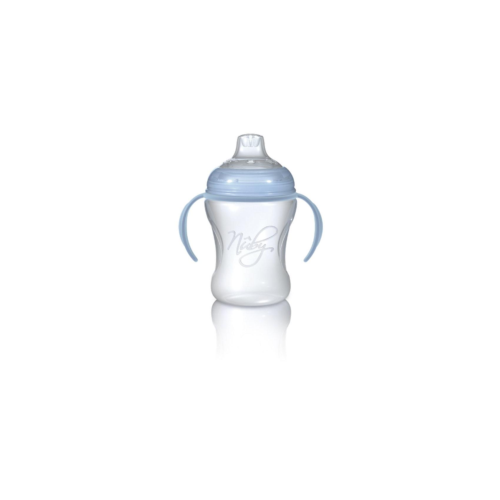 Полипропиленовый поильник Nuby с носиком-непроливайкой, 240 млПоильники<br>Полипропиленовый поильник, носик непроливайка, съемные ручки.<br>                                                                      <br>НОСИК-НЕПРОЛИВАЙКА: Благодаря уникальной технологии жидкость в мягкий силиконовый носик поступает только в момент совершения малышом сосательных движений, что предотвращает протекание поильника. Силикон не вызывает раздражение нежных десен и травмирования зубов ребенка. <br><br>ПОИЛЬНИК: Сделан из прозрачного ударопрочного полипропилена. СВЧ-печь подходит только для разогревания жидкости. При подогревании жидкостей в бутылочке в СВЧ-печи соска и крышка от бутылочки должны быть всегда сняты. Съемные ручки помогут ему самостоятельно овладеть навыком кормления. <br><br>ИСПОЛЬЗОВАНИЕ: Мыть перед первым использованием и после каждого последующего использования. Плотно закрыть крышку для обеспечения герметичности. <br><br>УХОД: Изделие можно безопасно мыть в посудомоечной машине на верхней полке или мыть в теплой воде с использованием мягкого жидкого мыла, а затем тщательно промывать в чистой воде. <br><br>Дополнительная информация:<br>- Состав: полипропилен, силикон;<br>- Он является абсолютно безопасным: не содержит bisphenol-A;<br>- Изготовлен из безопасного и нетоксичного полипропилена.<br><br>ПРЕДУПРЕЖДЕНИЕ: Во избежание травм не позволяйте ребенку бегать с поильником. Силиконовый носик-непроливайка не предназначен для использования в качестве прорезывателя. Пожалуйста, не позволяйте ребенку грызть или жевать носик, так как это может привести к протеканию или разрывам. Сменные носики продаются отдельно. Никогда не наливайте в поильник газированные напитки; возникающее давление может привести к протеканию. Никогда не оставляйте ребенка без присмотра во время использования им этого или иного детского изделия. Всегда проверяйте температуру перед тем, как кормить ребенка. <br><br>Изделие изготовлено из безопасных, долговечных, нетоксичных материалов. Сертифицир