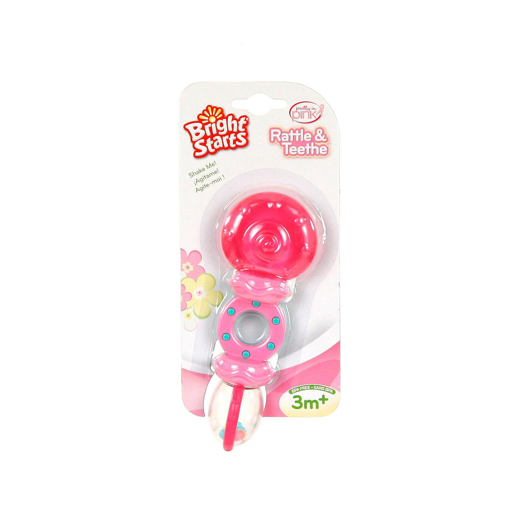 Bright Starts Погремушка с прорезывателем Леденец Bright Starts, розовая прорезыватели стеллар с погремушкой букетик