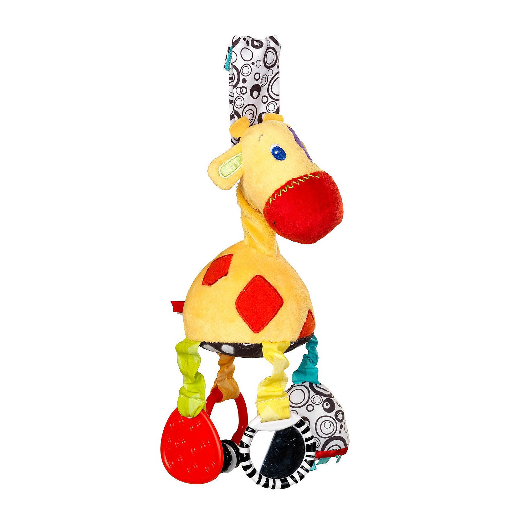 Развивающая мягкая игрушка Жираф Bright StartsЗабавный плюшевый жираф поможет малышу развиваться!<br><br>ОСОБЕННОСТИ<br>Каждая ножка жирафа обладает своей развивающей функцией<br>  зеркальце<br>  прорезыватель для зубок<br>  погремушка<br>  различные текстуры<br>Высококонтрастная игрушка позволяет развивать у ребенка концентрацию внимания<br>Дополнительные характеристики<br>  легко крепится к коляске, кроватке, автокреслу<br>  размеры товара: 9,5 * 9,5 * 25 см<br>  размеры коробки: 14 * 9,5 * 11 см<br><br>Развивающая мягкая игрушка Жираф Bright Starts (Брайт Стартс) можно купить в нашем интернет-магазине.<br><br>Ширина мм: 140<br>Глубина мм: 310<br>Высота мм: 110<br>Вес г: 122<br>Возраст от месяцев: 0<br>Возраст до месяцев: 12<br>Пол: Унисекс<br>Возраст: Детский<br>SKU: 2225540