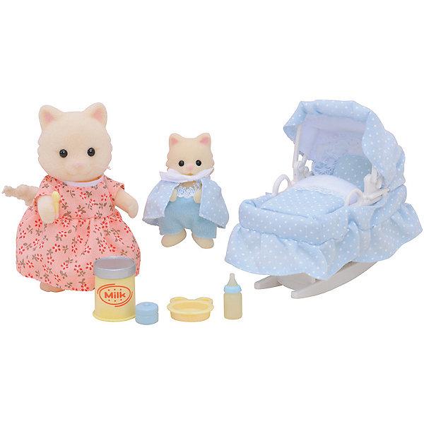 Набор Мама с малышом и колыбелькой Sylvanian FamiliesSylvanian Families<br>Мама с малышом и колыбелькой от Sylvanian Families. <br><br>Мама-кошечка заботится о своём малыше и старается, чтобы его сон ничего не потревожило. Поэтому она одевает малыша в нарядную пижамку и укладывает спать в уютную колыбельку. <br><br>Мама-кошечка одета в розовое платье, сама кошечка белого цвета. Пушистый и длинный хвостик гнётся в разные стороны. Ручки, ножки и голова двигаются. <br><br>На котёнке комбинезон и светло-голубая накидка. Одежду можно легко снять и надеть снова. <br><br>Колыбель состоит из постельных принадлежностей и подставки, чтобы колыбель можно было качать. <br><br>Мама-кошка также может кормить своего малыша, потому что в набор входят детские столовые приборы, молоко и другие аксессуары. <br><br>Дополнительная информация:<br><br>В набор входят:<br><br>- мама-кошка (8 см);<br>- котёнок (5 см);<br>- колыбель;<br>- одеяло и матрас;<br>- бутылочка;<br>- тарелочка;<br>- банка молока;<br>- ложка. <br><br>Размер упаковки (д/ш/в): 20 х 15 х 5,5 см. <br><br>Материал: текстиль, ПВХ с полимерным напылением, пластмасса.<br><br>Этот набор обязательно порадует Вашего ребёнка, ведь теперь он сможет разыгрывать сценки из собственной жизни! Набор также способствует развитию фантазии и навыков общения.<br><br>Ширина мм: 203<br>Глубина мм: 172<br>Высота мм: 66<br>Вес г: 136<br>Возраст от месяцев: 36<br>Возраст до месяцев: 72<br>Пол: Женский<br>Возраст: Детский<br>SKU: 2226655