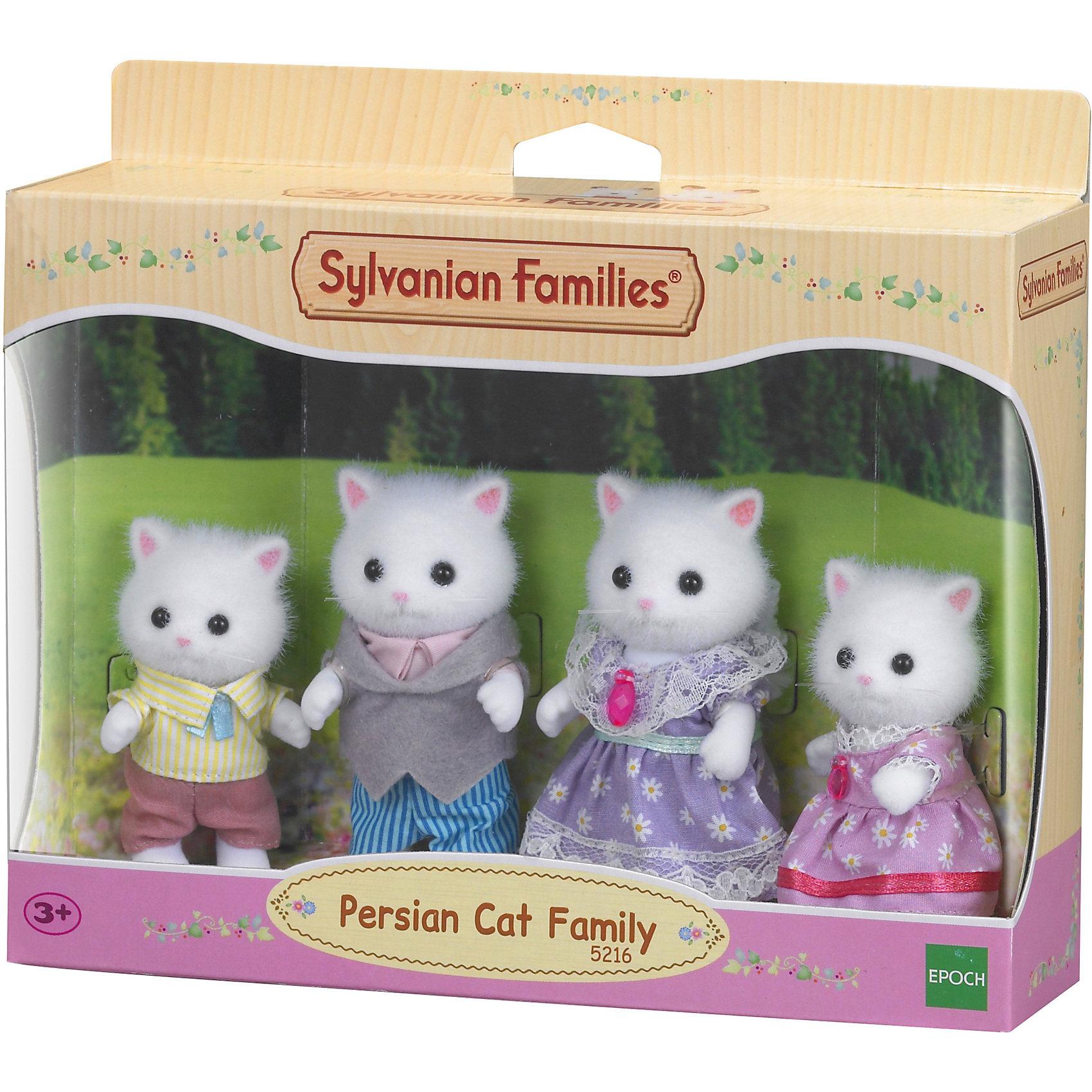 Набор Семья персидских котов Sylvanian FamiliesSylvanian Families<br>Семья  персидских котов Sylvanian Families - это семья очень творческих котов из Сильвании. <br><br>Sylvanian Families – это удивительный мир, в котором сказочные животные живут настоящими семьями. В этом мире существуют не только взрослые персонажи, но и детишки разного возраста, а также бабушки и дедушки. Их мир наполнен гармонией и заботой друг о друге. <br><br>Семья состоит из папы, мамы, дочки и сынишки. У каждого из них есть имя и характер.<br><br>Папа Септимус (Septimus) - мастер-ремесленник, который делает самые красивые ковры. В своей мастерской он придумывает необычные узоры с использованием самых различных материалов, поэтому его коврами может гордиться каждый житель Сильвании. <br><br>Мама Саломе (Salome) - художница, которая черпает вдохновение из природы. Она часто помогает своему мужу в изготовлении ковров. Саломе может часами сидеть за мольбертом в лесу и рисовать. <br><br>Братик Нолли (Nolly) готов проводить все время за играми в саду, делая перерыв только для того, чтобы пообедать. Он очень любит лазить по деревьям, но часто зависает на каком-то огромном дереве и не может слезть. Приходится звать на помощь папу, который обязательно ему поможет.<br><br>Сестричка Сади (Sadie) не находит ничего лучше, чем уединиться с хорошей книгой в самой солнечной части дома. Она читает так много книг, что иногда забывает о реальности.<br><br>Каждый персонаж одет в костюмчик, который легко снимается. На папе симпатичный костюм с рубашкой, на маме ситцевое платье. Детишки очень похожи на своих родителей: на сыне комбинезон с рубашкой, а на дочке платье с бантиками и кружавчиками.<br><br>У всех кошек двигаются лапки, пушистые хвосты гнутся.<br><br>Дополнительная информация:<br><br>- Размер мамы и папы: 8 см.<br>- Размер дочки и сына: 6,5 см.<br>- Размер упаковки (д/ш/в): 20 х 6 х 15 см.<br>- Материал: текстиль, ПВХ с полимерным напылением, пластмасса.<br><br>Этот набор обязательно порадует Вашего ре