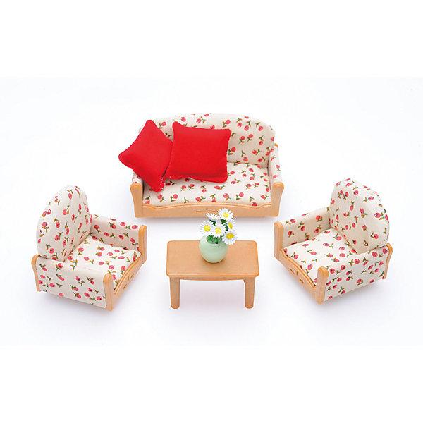 Набор Мягкая мебель для гостиной Sylvanian FamiliesSylvanian Families<br>Набор мягкой мебели для гостиной. <br><br>Sylvanian Families – это удивительный мир, в котором сказочные животные живут настоящими семьями. В этом мире существуют не только взрослые персонажи, но и детишки разного возраста, а также бабушки и дедушки. Их мир наполнен гармонией и заботой друг о друге. <br><br>Как приятно, когда вся семья в сборе! Жители Сильвании с удовольствием собираются в гостиной после долгого рабочего дня, чтобы обсудить последние новости в семейном кругу. Приятная обстановка радует глаз и способствует доверительным семейным отношениям. <br><br>Мебель выполнена в деревенском стиле - столик и выступающие детали гарнитура сделаны под дерево, а обивка из ткани бежевого цвета с рисунком - ягодами. <br><br>Красные подушки, которые можно положить на диван или на кресло, а также ваза с полевыми цветами говорят о том, что у хозяев дома - хороший вкус, и они умеют создать уютную обстановку.<br><br>Дополнительная информация:<br><br>В набор входит: диван, два кресла, стол, две подушки, ваза с цветами.<br><br>В комплекте:<br><br>- диван (5 x 9 x 5,5 см);<br>- 2 кресла (5 x 5,2 x 5,3 см);<br>- столик (3 x 5 x 2,8 см);<br>- 2 подушки;<br>- ваза;<br>- 6 цветочков.<br><br>Размер упаковки: 15 х 10 х 5,6 см. <br>Материал: текстиль, высококачественная пластмасса.<br><br>Этот набор обязательно порадует Вашего ребёнка, ведь теперь он сможет разыгрывать сценки из собственной жизни! Набор также способствует развитию фантазии и навыков общения.<br>Ширина мм: 154; Глубина мм: 124; Высота мм: 60; Вес г: 143; Возраст от месяцев: 36; Возраст до месяцев: 72; Пол: Женский; Возраст: Детский; SKU: 2226668;