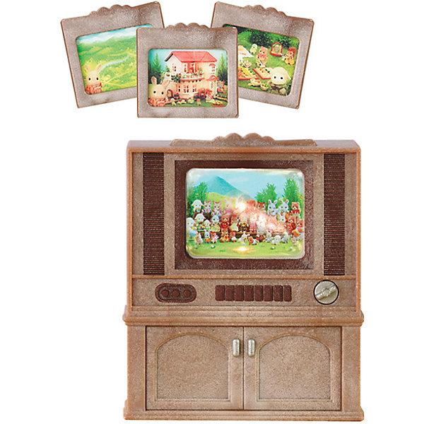 Набор Цветной телевизор Sylvanian FamiliesSylvanian Families<br>Цветной телевизор от Sylvanian Families. <br><br>По вечерам вся семья с удовольствием собирается у телевизора, чтобы посмотреть новости Сильвании, новые фильмы или развлекательные передачи. <br><br>Телевизор в стиле ретро представляет из себя шкаф из тёмного дерева. Телевизор - это небольшая линза, позади которой размещена картинка-слайд. Телевизор включается поворотом ручки, при этом на экране позади картинки загорается свет. <br><br>В набор входят 4 различных слайда. Жители Сильвании с удовольствием будут их просматривать.  <br><br>Дополнительная информация:<br><br>Размер телевизора: 6 х 4 х 7,5.<br><br>Размер упаковки (д/ш/в): 12 х 15 х 6 см.<br><br>Для работы подсветки экрана необходимо 2 батарейки типа ААА (нет в комплекте). <br><br>Материал: высококачественная пластмасса.<br><br>Этот набор обязательно порадует Вашего ребёнка, ведь теперь он сможет разыгрывать сценки из собственной жизни! Набор также способствует развитию фантазии и навыков общения.<br><br>Ширина мм: 119<br>Глубина мм: 78<br>Высота мм: 50<br>Вес г: 96<br>Возраст от месяцев: 36<br>Возраст до месяцев: 72<br>Пол: Женский<br>Возраст: Детский<br>SKU: 2226675