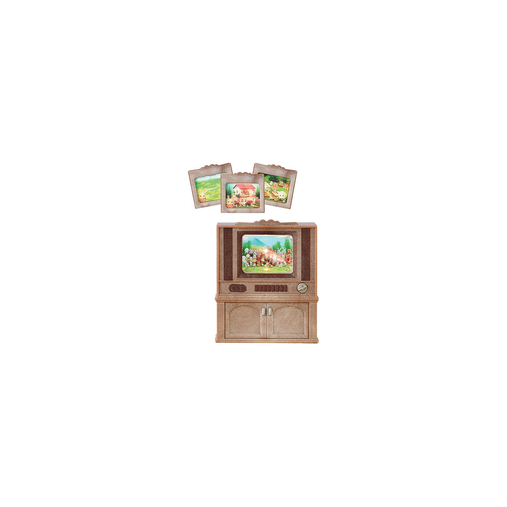 Набор Цветной телевизор Sylvanian FamiliesSylvanian Families<br>Цветной телевизор от Sylvanian Families. <br><br>По вечерам вся семья с удовольствием собирается у телевизора, чтобы посмотреть новости Сильвании, новые фильмы или развлекательные передачи. <br><br>Телевизор в стиле ретро представляет из себя шкаф из тёмного дерева. Телевизор - это небольшая линза, позади которой размещена картинка-слайд. Телевизор включается поворотом ручки, при этом на экране позади картинки загорается свет. <br><br>В набор входят 4 различных слайда. Жители Сильвании с удовольствием будут их просматривать.  <br><br>Дополнительная информация:<br><br>Размер телевизора: 6 х 4 х 7,5.<br><br>Размер упаковки (д/ш/в): 12 х 15 х 6 см.<br><br>Для работы подсветки экрана необходимо 2 батарейки типа ААА (нет в комплекте). <br><br>Материал: высококачественная пластмасса.<br><br>Этот набор обязательно порадует Вашего ребёнка, ведь теперь он сможет разыгрывать сценки из собственной жизни! Набор также способствует развитию фантазии и навыков общения.<br><br>Ширина мм: 120<br>Глубина мм: 78<br>Высота мм: 48<br>Вес г: 96<br>Возраст от месяцев: 36<br>Возраст до месяцев: 72<br>Пол: Женский<br>Возраст: Детский<br>SKU: 2226675