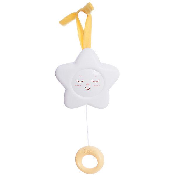 Подвеска Звезда, ChiccoИгрушки для новорожденных<br>Подвеска Звезда Chicco (Чико) - великолепная классическая игрушка в новом дизайне: с более мягкими и округлыми формами и новым решением!<br><br>Стоит потянуть за кольцо на подвеске, и зазвучит нежная мелодия. Приятная музыка поможет крохе заснуть и видеть сладкие сны. Такая подвеска станет палочкой-выручалочкой в тех ситуациях, когда малышу предстоит ночевать у своих бабушки и дедушки или в новом месте.<br><br>С помощью имеющихся на подвеске лент игрушку легко прикрепить к коляске, проватке или автокреслу.<br><br>Музыкальная игрушка Звезда развивает тактильные навыки малыша, мелкую моторику рук, звуковое восприятие. <br><br>Ваш малыш будет сладко спать с подвеской Звезда от Chicco!<br><br>Дополнительная информация:<br><br>- Игрушка выполнена из гипоаллергенной пластмассы<br>- Удобно крепится на кроватку или коляску с помощью веревочек<br>- Не нуждается в использовании батареек: игрушка механическая<br>- Размер в упаковке: 14 х 6 х 21 см<br><br>Подвеску Звезда Chicco можно купить в нашем интернет-магазине.<br>Ширина мм: 142; Глубина мм: 62; Высота мм: 211; Вес г: 221; Возраст от месяцев: 0; Возраст до месяцев: 12; Пол: Унисекс; Возраст: Детский; SKU: 2231671;