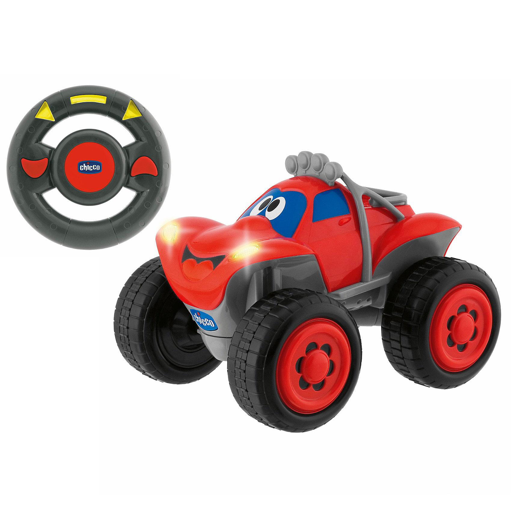 Машинка Билли-большие колеса, красная, ChiccoМашинки<br>Машинка Билли-большие колеса Chicco (Чико) - радиоуправляемая машинка с интуитивным управлением для маленьких гонщиков!<br><br>Билли - это абсолютная новинка в мире радиоуправляемых моделей, т.к. подобных управлений до этого не существовало! Билли оснащен революционным интуитивным управлением, чтобы ребенок мог почувствовать себя за рулем настоящего джипа! Пульт радиоуправления в форме руля позволяет выбирать направление движения простым поворотом руля. Мотор рычит, клаксон гудит, а фары горят.... как у настоящей машины. <br><br>Возьмите руль в руки и поворачивайте его влево и вправо, как настоящий руль. Билли будет следовать движениям руля. Билли также может ехать прямо или назад. Дополнительно автомобиль будет издавать различные звуки. Для того, чтобы при заднем ходе ничего не случилось, звучит предупреждающий сигнал и огоньки подают соответствующий сигнал. В середине руля находится звуковой сигнал, который поможет предупредить всех о том, что Билли приближается!<br><br>Машинку Билли-большие колеса Chicco можно купить в нашем интернет-магазине.<br><br>Дополнительная информация:<br>- Частота: 40.675 MHz<br>- Размер: прибл. 38х19х20 см<br>- Для работы необходимы 4 батарейки АА и 3 батарейки ААА. В комплект не входят.<br><br>Машинку Билли-большие колеса, красная, Chicco (Чико) можно купить в нашем магазине.<br><br>Ширина мм: 193<br>Глубина мм: 330<br>Высота мм: 218<br>Вес г: 1000<br>Возраст от месяцев: 24<br>Возраст до месяцев: 48<br>Пол: Мужской<br>Возраст: Детский<br>SKU: 2231700