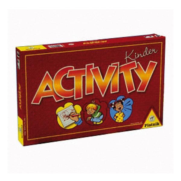 Игра Activity для малышей, PiatnikИгры со словами<br>Оригинальная игра Активити для малышей представляет собой одну из версий этой популярной игры, предназначенную для детей в возрасте от 4 лет. <br><br>Игра прекрасно развивает творческое мышление, помогает детям развивать навыки общения и учит выражать собственные мысли. Все это способствует интеллектуальному развитию ребенка. Кроме того, данная игра помогает развитию мелкой моторики рук малыша.<br><br>Правила игры: перед игрой участники разделяются на две команды, раскладывают игральные карточки в одну стопку (рисунком вниз), предварительно перемешав их, и собирают игровое поле. После этого две деревянные фигурки слоников ставятся на Старт и игроки по очереди берут карточки, не показывая другим, и пытаются объяснить своей команде, что изображено на ней. Если участники угадывают, то команда передвигает фишку на одну клетку вперёд. Побеждает в игре Активити та команда, которая первой приведёт слоника в игрушечному морю! <br><br>Дополнительная информация:<br><br>Количество игроков: 3-16.<br><br>Ширина мм: 345<br>Глубина мм: 220<br>Высота мм: 45<br>Вес г: 810<br>Возраст от месяцев: 48<br>Возраст до месяцев: 1188<br>Пол: Унисекс<br>Возраст: Детский<br>SKU: 2237184
