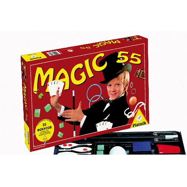 Piatnik 55 фокусовФокусы и розыгрыши<br>Этот магический набор под названием «55 фокусов»  от компании Piatnik посвятит всех желающих в  секреты, известные только профессиональным фокусникам. С его помощью ваш ребенок сможет почувствовать себя настоящим волшебником. <br><br>Набор «55 фокусов» включает в себя все необходимое для того, чтобы воспроизвести 55 различных захватывающих и интересных фокусов. Многие из них на первый взгляд производят впечатление весьма простых, но юный фокусник очень скоро убедится, что за кажущейся простотой скрывается настоящее искусство. Некоторые фокусы известны уже не одну сотню лет, однако это не мешает им выглядеть вполне современно.<br><br>Дополнительная информация:<br><br>- в комплекте:<br><br>карточная колода <br>коробок спичек <br>волшебная палочка <br>маленькое кольцо <br>мягкая белая веревка <br>полое яйцо <br>маленькие поролоновые губки - 4 шт. <br>большое пластмассовое кольцо - 4 шт. <br>наперсток <br>пластмассовый шарик <br>полый пластиковый цилиндр - 2 шт. <br>игральный кубик - 3 шт. <br><br>В наборе настольной игры даны описания 55 различным фокусам:<br><br>блуждающие спички;<br>превращение веревки;<br>сигареты из ниоткуда;<br>волшебное яйцо и другие.<br><br>Piatnik 55 фокусов можно купить в нашем магазине.<br><br>Ширина мм: 350<br>Глубина мм: 220<br>Высота мм: 40<br>Вес г: 450<br>Возраст от месяцев: 72<br>Возраст до месяцев: 1188<br>Пол: Унисекс<br>Возраст: Детский<br>SKU: 2237185
