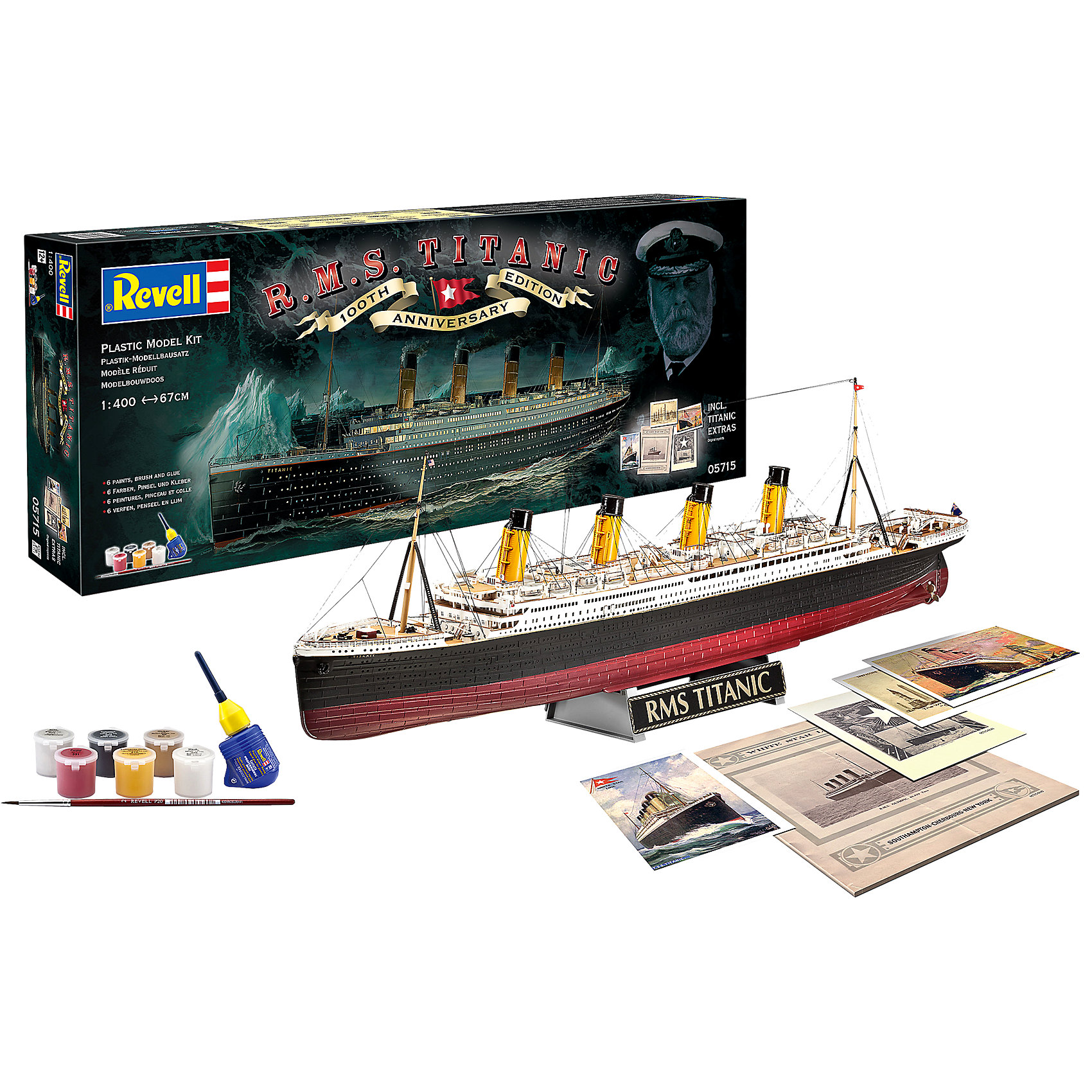 Подарочный набор 100-летняя годовщина ТитаникаМодели для склеивания<br>Подарочный набор 100-летняя годовщина Титаника приурочен к столетию печальной славы всемирно известнейшего круизного лайнера Титаник  <br>«Титаник» (RMS Titanic) - английский пароход произведенный компанией Уайт Стар Лайн, был вторым из трех кораблей-близнецов типа Олимпик. Самый большой пассажирский лайнер мира в свое время. Известен своим печальным первым и единственным рейсом -14 апреля 1912 года, во время которого столкнулся с айсбергом и в течении 2 часов 40 минут затонул. В тот момент на корабле находилось 908 членов экипажа, 1316 пассажиров, всего 2224 человека. Спастись смогли только 711 человек, 1513 погибло. Крушение Титаника  стало легендарным, на основе этих событий было снято множество художественных фильмов. <br>С помощью этого набора Вы можете собственноручно собрать копию легендарного Титаника максимально приближенную к оригиналу. В комплект входят краски и клей для полноценной сборки. <br>Масштаб: 1:400; Количество деталей: 262; Длина: 670мм; Год выпуска: 1912г(Великобритания).<br><br>Ширина мм: 692<br>Глубина мм: 279<br>Высота мм: 71<br>Вес г: 1213<br>Возраст от месяцев: 144<br>Возраст до месяцев: 192<br>Пол: Мужской<br>Возраст: Детский<br>SKU: 2237667