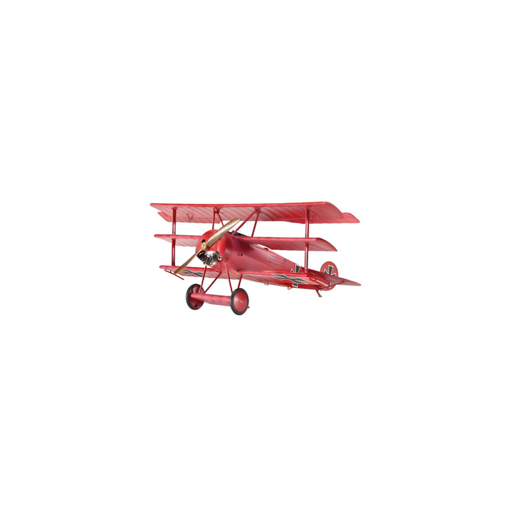Самолет Триплан Истребитель Fokker Dr, RevellСамолет Триплан Истребитель Fokker Dr, Revell (Ревелл) – эта максимально детализированная модель станет отличным украшением комнаты.<br>Легкий, маневренный триплан Fokker Dr. I, несмотря на наличие некоторых заметных недостатков в конструкции, смог войти в историю авиации. Именно на таком самолете свои подвиги совершал немецкий ас Манфред фон Рихтгофен по прозвищу «Красный барон». Оригинальных самолетов Fokker Dr. I сейчас уже не осталось, но существуют достоверные копии, высоко ценимые коллекционерами. Первый полет Fokker Dr. I состоялся в 1917 году. Сборная модель самолета Триплан Истребитель Fokker Dr от Revell (Ревелл) является абсолютно точной уменьшенной копией своего прототипа. Модель состоит из 77 деталей, которые необходимо собрать, склеить и покрыть краской в соответствии с инструкцией. В наборе также прилагаются клей в удобной упаковке, краски и кисточка. Модель тщательно проработана. Разработанная для детей от 10 лет, сборная модель самолета, определённо, принесёт массу положительных эмоций и взрослым любителям моделирования, и коллекционерам военной техники. Моделирование считается одним из наиболее полезных хобби, ведь оно развивает интеллектуальные и инструментальные способности, воображение и конструктивное мышление. Прививает практические навыки работы со схемами и чертежами.<br><br>Дополнительная информация:<br><br>- Возраст: для детей старше 10-и лет<br>- В наборе: комплект пластиковых деталей для сборки модели, базовые акриловые краски, клей, кисточка, инструкция<br>- Количество деталей: 77 шт.<br>- Масштаб модели: 1:48<br>- Длина модели: 120 мм.<br>- Размах крыльев: 152 мм.<br>- Уровень сложности: 4 (из 5)<br>- Дополнительно потребуются: кусачки, для того чтобы отделить детали с литников<br>- Краски из набора можно разбавлять обычной водой или фирменным растворителем Revell (Ревелл)<br><br>Модель Самолета Триплан Истребитель Fokker Dr, Revell (Ревелл) можно купить в нашем интернет-магазине.<br><br>Шир