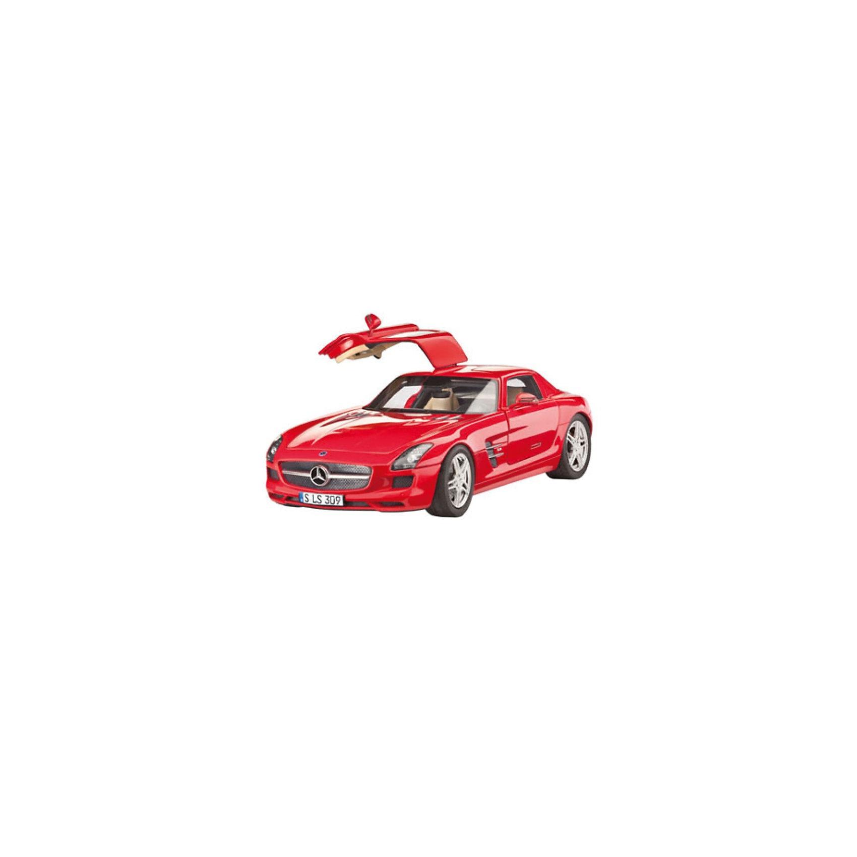 Автомобиль Mercedes, RevellМашинки<br>Автомобиль Mercedes, Revell (Ревелл) – максимально детализированная модель станет украшением комнаты и дополнением коллекции.<br>Mercedes-Benz SLS AMG — суперкар, преемник Mercedes-Benz SLR McLaren и идеологический наследник Mercedes-Benz 300SL. Мировая премьера состоялась в 2009 году на франкфуртском автосалоне. Автомобиль появился в продаже в 2010 году. Как и у «дедушки» - 300SL - у SLS установлены двери типа «крыло Чайки». Сборная модель автомобиля Mercedes от фирмы Revell (Ревелл) является абсолютно точной уменьшенной копией этого мощного суперкара. Модель состоит из 141 детали, которые необходимо собрать, склеить и покрыть краской в соответствии с инструкцией. В наборе также прилагаются клей в удобной упаковке, краски и кисточка. Модель тщательно проработана. Оригинальный кузов выполнен в мельчайших подробностях, а интерьер машины с подлинной приборной панелью и сиденьями превосходно детализирован. Макет автомобиля имеет вращающиеся колёса, которые выглядят совсем как настоящие, открывающуюся крышку капота, под которой располагается высокодетализированный восьмицилиндровый двигатель. А для ещё большей достоверности, некоторые части модели хромированы. Разработанная для детей от 10 лет, сборная модель суперкара Mercedes-Benz SLS AMG, определённо, принесёт массу положительных эмоций и взрослым любителям моделирования. Моделирование считается одним из наиболее полезных хобби, ведь оно развивает интеллектуальные и инструментальные способности, воображение и конструктивное мышление. Прививает практические навыки работы со схемами и чертежами.<br><br>Дополнительная информация:<br><br>- Возраст: для детей старше 10-и лет<br>- В наборе: комплект пластиковых деталей для сборки модели, декаль для вариантов нескольких стран (D, NL, F, CH, GB), базовые акриловые краски, клей, кисточка, инструкция<br>- Количество деталей: 141 шт.<br>- Масштаб модели: 1:24<br>- Длина модели: 193 мм.<br>- Уровень сложности: 4 (из 5)<br>- Дополнительно пот