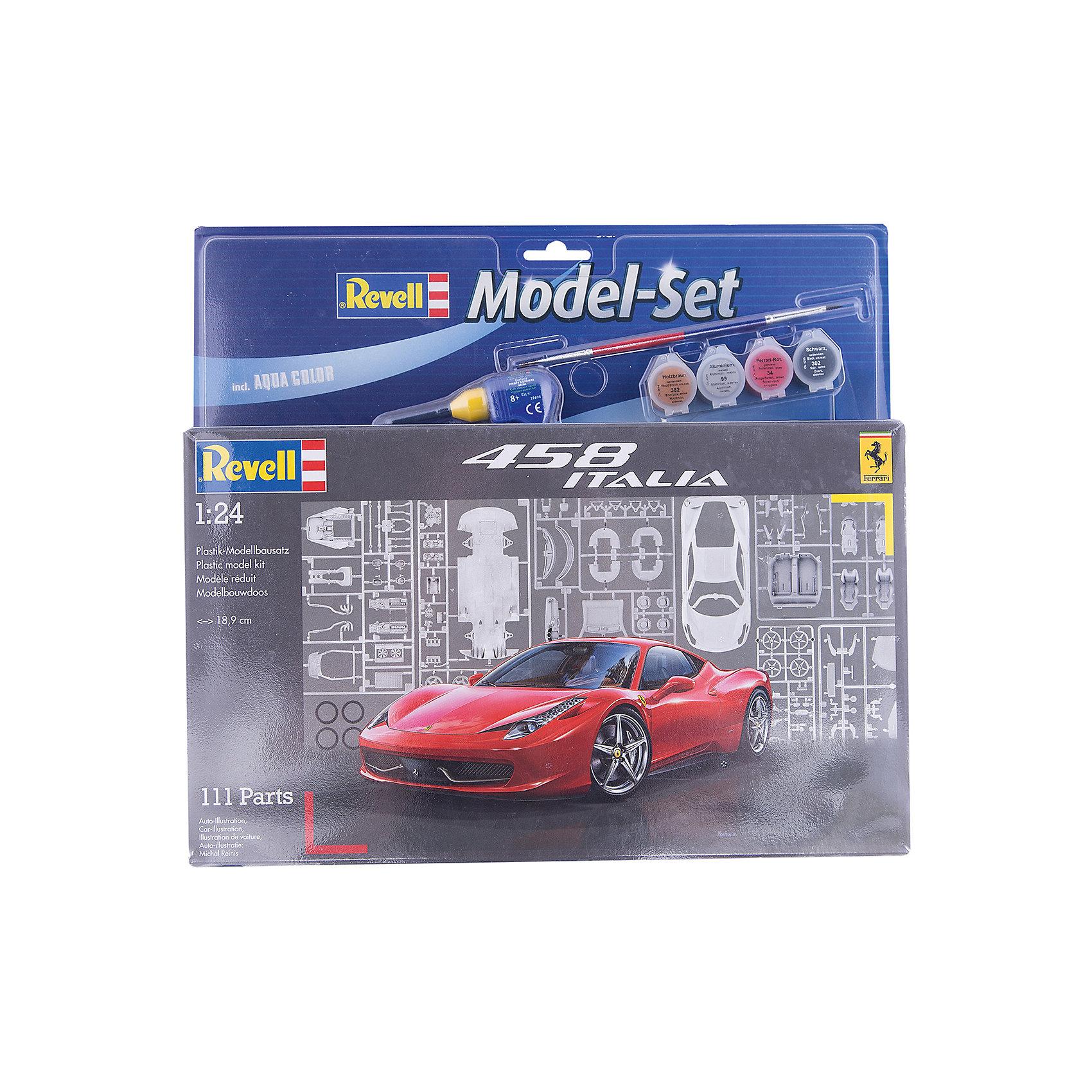 Автомобиль Ferrari, RevellМашинки<br>Автомобиль Ferrari, Revell (Ревелл) –  максимально детализированная модель станет украшением комнаты и дополнением коллекции.<br>Модель автомобиля Ferrari 458 Italia является уменьшенной копией одноименного спортивного автомобиля, впервые выпущенного в Италии в 2009 году. Модель состоит из 111 деталей, которые необходимо собрать, склеить и покрыть краской в соответствии с инструкцией. В наборе также прилагаются клей в удобной упаковке, краски и кисточка. Модель тщательно проработана. Оригинальный кузов выполнен в мельчайших подробностях, а интерьер машины с подлинной приборной панелью, креслами и управлением превосходно детализирован. Точно воспроизведены диски колес, тормоза, подвеска, трансмиссия, глушитель. Крышка капота открывается, под ней располагается высокодетализированный сборный 8-цилиндровый двигатель. А для ещё большей достоверности, некоторые части модели имеют блестящее металлическое напыление. Разработанная для детей от 10 лет, сборная модель знаменитого суперкара Ferrari 458 Italia, определённо, принесёт массу положительных эмоций и взрослым любителям моделирования. Моделирование считается одним из наиболее полезных хобби, ведь оно развивает интеллектуальные и инструментальные способности, воображение и конструктивное мышление. Прививает практические навыки работы со схемами и чертежами.<br><br>Дополнительная информация:<br><br>- Возраст: для детей старше 10-и лет<br>- В наборе: комплект пластиковых деталей для сборки модели, достоверная декаль с номерами нескольких стран (D, NL, F, CH, I, GB), базовые акриловые краски, клей, кисточка, инструкция<br>- Количество деталей: 111 шт.<br>- Масштаб: 1:24.<br>- Длина модели: 189 мм.<br>- Уровень сложности: 3 (из 5)<br>- Дополнительно потребуются: кусачки, для того чтобы отделить детали с литников<br>- Краски из набора можно разбавлять обычной водой или фирменным растворителем Revell (Ревелл)<br><br>Модель Автомобиля Ferrari, Revell (Ревелл) можно купить в нашем интернет-м