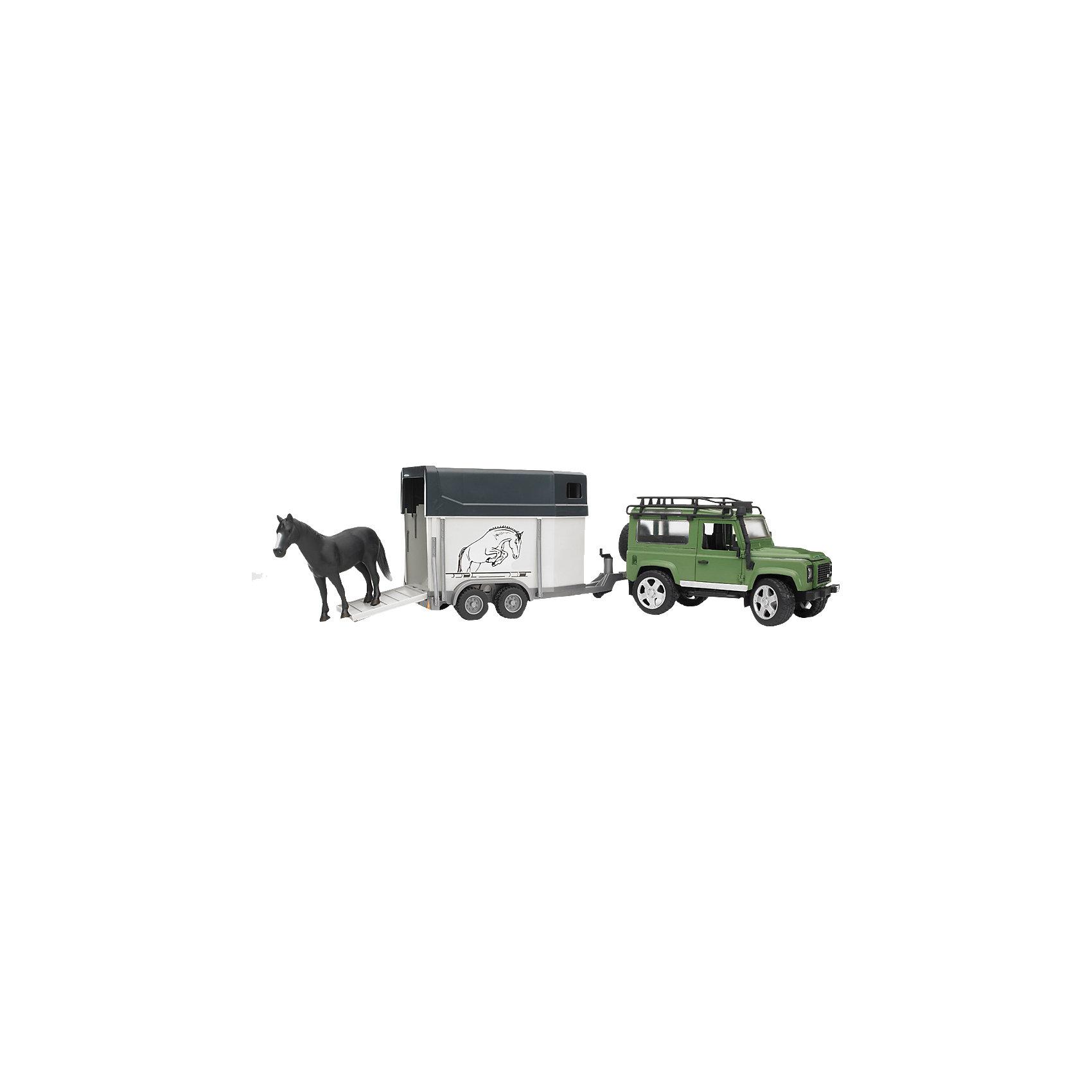 Фото Bruder Внедорожник Land Rover с прицепом-коневозкой и лошадью,  Bruder