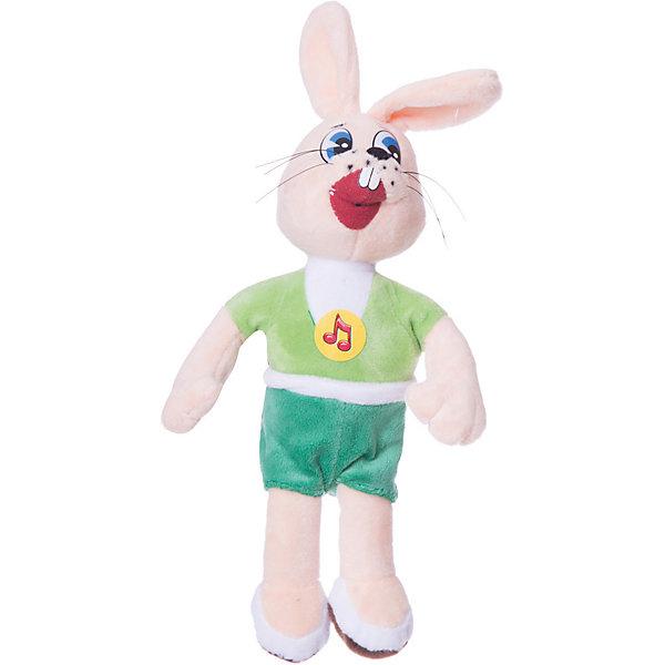 Мягкая игрушка Мульти-Пульти Ну, погоди! Заяц, 25 см звукМягкие игрушки из мультфильмов<br>Характеристики:<br><br>• возраст: от 3 лет;<br>• тип игрушки: заяц;<br>• материал: плюш, текстиль, пластик;<br>• высота игрушки: 25 см;<br>• размер: 15х7х31 см;<br>• вес: 120 гр; <br>• тип батареек: АА;<br>• наличие батареек: входят в комплект.<br>• страна производитель: Россия.<br><br>Мягкая игрушка «Ну, погоди! Заяц», озвученная, выполнена по образу главного персонажа популярного мультфильма «Ну, погоди!» обожаемого многими детьми – Зайца. Высота игрушки 25 см. Зайчик выполнен из мягкого плюша и текстиля, абсолютно не вредного для детей от трех лет. Одет персонаж в зелёную футболку и чёрные шорты.<br><br>Очаровательный заяц развлечёт малыша мелодией и 5 фразами из любимого мультфильма. Для активации звуковых эффектов игрушки необходимо нажать игрушке на место с изображением нотки. Заяц поет песни и воспроизводит мелодию из мультика. Небольшой размер позволяет взять его с собой. <br><br>Мягкую игрушку «Ну, погоди! Заяц», озвученную,  можно купить в нашем интернет-магазине.<br>Ширина мм: 22; Глубина мм: 30; Высота мм: 22; Вес г: 290; Возраст от месяцев: 36; Возраст до месяцев: 1188; Пол: Унисекс; Возраст: Детский; SKU: 2240375;