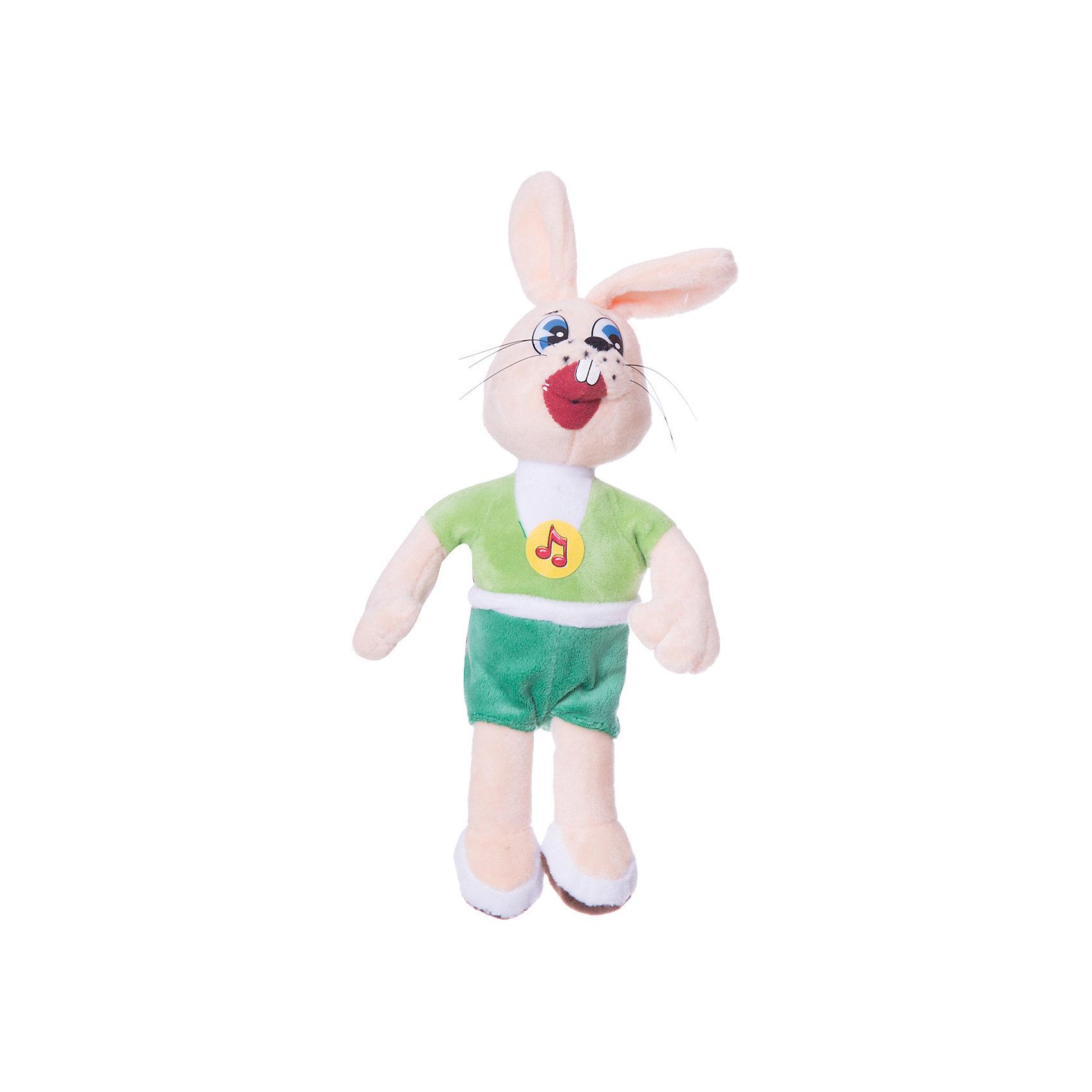 Заяц, 25 см, со звуком, Ну, погоди!, МУЛЬТИ-ПУЛЬТИОзвученные мягкие игрушки<br>Мягкая игрушка Заяц со звуком от марки МУЛЬТИ-ПУЛЬТИ<br><br>Интерактивная мягкая игрушка от отечественного производителя сделана в виде известного персонажа из мультфильма Ну, погоди!. Она поможет ребенку проводить время весело и с пользой. В игрушке есть встроенный звуковой модуль, который позволяет ей говорить 8 разных фраз и играть мелодию из мультфильма.<br>Размер игрушки очень удобный - 25 сантиметров, её удобно брать с собой в поездки и на прогулку. Сделан заяц из качественных и безопасных для ребенка материалов, которые еще и приятны на ощупь. <br><br>Отличительные особенности игрушки:<br><br>- материал: текстиль, пластик;<br>- звуковой модуль;<br>- язык: русский;<br>- произносит 8 фраз;<br>- работает на батарейках;<br>- высота: 25 см.<br><br>Мягкую игрушку Заяц от марки МУЛЬТИ-ПУЛЬТИ можно купить в нашем магазине.<br><br>Ширина мм: 22<br>Глубина мм: 30<br>Высота мм: 22<br>Вес г: 290<br>Возраст от месяцев: 36<br>Возраст до месяцев: 1188<br>Пол: Унисекс<br>Возраст: Детский<br>SKU: 2240375