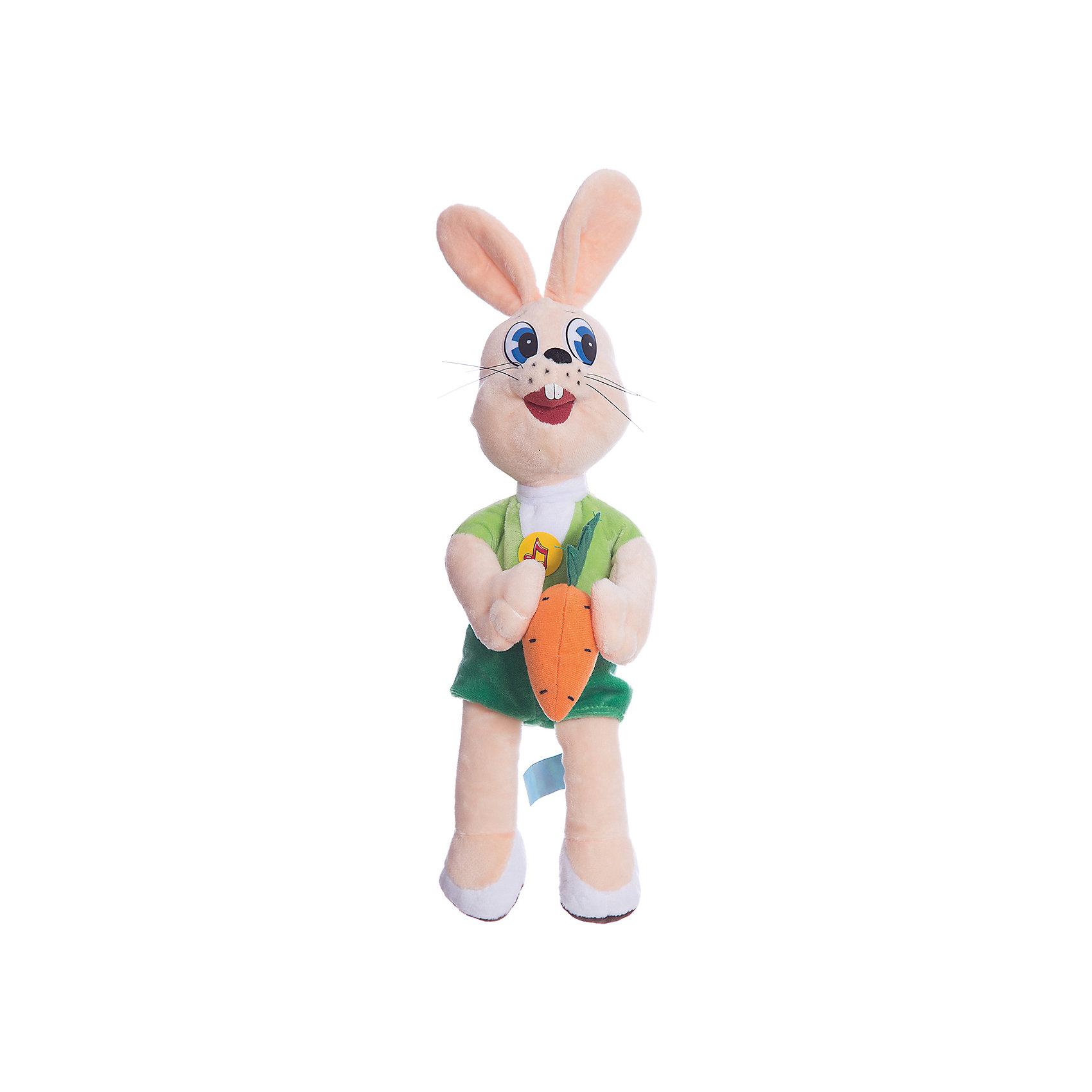 Мягкая игрушка Заяц с морковкой, МУЛЬТИ-ПУЛЬТИЛюбимые герои<br>В коллекции мягких игрушек Мульти-Пульти представлены все известные персонажи детских мультфильмов и сказок и, конечно же, не обошлось без персонажей знаменитого мультика Ну, Погоди!. Ребенок с радостью узнает веселого серого зайчика из знакомого мультика, игрушка очень похожа на свой мультперсонаж и держит в лапке морковку. Зайчик оснащен электронно-звуковым чипом, на который записаны 8 фраз из мультфильма и мелодия Ну, Погоди!<br><br>Дополнительная информация:<br><br>- Материал: плюш, синтепон.<br>- Требуются батарейки: 3 * LR44 (входят в комплект).<br>- Размер игрушки: 33 см.<br><br>Мягкую игрушку Зайчик с морковкой из Ну, Погоди! можно приобрести в нашем интернет-магазине.<br><br>Ширина мм: 15<br>Глубина мм: 37<br>Высота мм: 23<br>Вес г: 280<br>Возраст от месяцев: 36<br>Возраст до месяцев: 1188<br>Пол: Унисекс<br>Возраст: Детский<br>SKU: 2240376