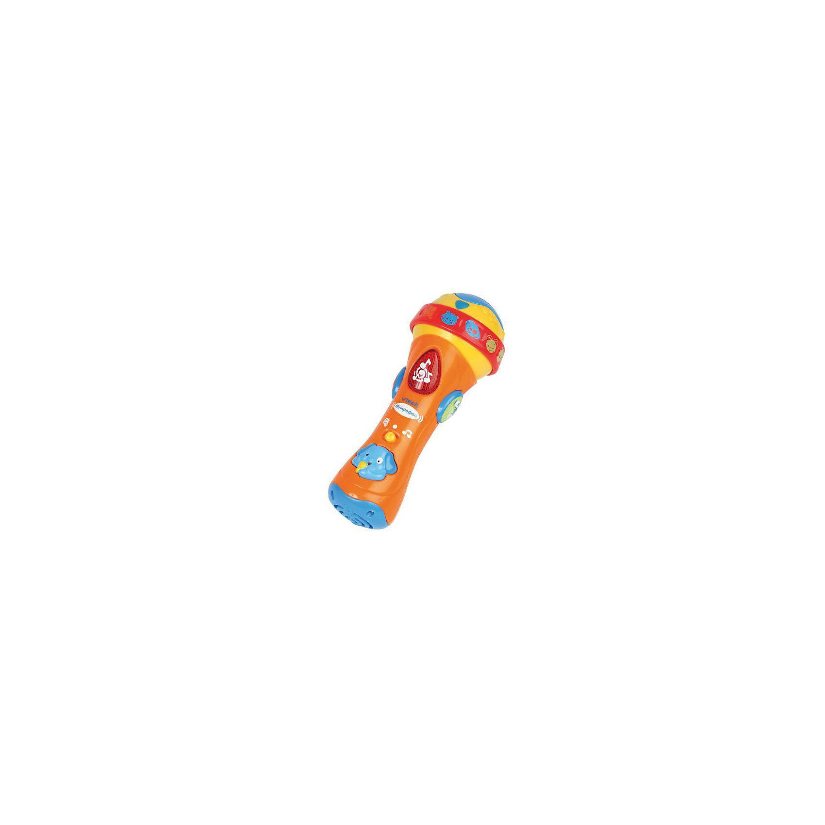 Развивающая игрушка Микрофон, VtechИнтерактивные игрушки для малышей<br>Развивающая игрушка «Микрофон» от Vtech специально сделана для малышей, которые любят танцевать!<br><br>Форма микрофона выполнена так, что малышу будет удобно держать его в руке и одновременно нажимать на кнопки, меняя режимы. <br><br>Интерактивный микрофон при помощи разнообразных звуковых эффектов познакомит ребенка с нотами, разовьёт чувство ритма, поможет запомнить названия и звуки 12 животных. <br><br>С функцией караоке Ваш малыш не будет скучать. Нажимая на яркие светящиеся кнопки, слушая веселые песенки и забавные мелодии, Ваш непоседа проведет время увлекательно и с пользой, не скучая ни минуты.<br><br>Дополнительная информация:<br><br>- Мелодии из мультфильмов<br>- 12 названий и звуков животных<br>- 18 дополнительных мелодий<br>- Режим вопросов<br>- Озвучивание: профессиональное (одноголосное)<br>- Размер упаковки: 9 х 15 х 19 см. <br>- Размер игрушки: 18 х 5 х 4 см<br>- Батарейки:  3 x AAA, не входят в комплект<br>- Материал: пластмасса<br>- Вес: 175 г.<br><br>Развивающую игрушку Микрофон от Vtech можно купить в нашем интернет-магазине.<br><br>Ширина мм: 90<br>Глубина мм: 150<br>Высота мм: 190<br>Вес г: 380<br>Возраст от месяцев: 12<br>Возраст до месяцев: 36<br>Пол: Унисекс<br>Возраст: Детский<br>SKU: 2240468