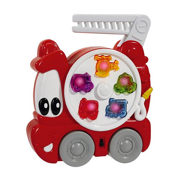 Пожарная машина со светом и звуком, SimbaМашинки<br>Пожарная машина со светом и звуком, Simba (Симба) – эта забавная красная пожарная машинка с глазками надолго увлечет вашего малыша.<br>Веселая пожарная машина от немецкой компании Simba (Симба) больше похожа на маленькую зверушку, чем на транспортное средство, благодаря своим большим доверчивым глазкам, заменяющим лобовое стекло, и блестящей улыбки вместо бампера. Один из боков игрушки украшает большой белый диск с пятью разноцветными кнопками, оформленных в виде различной автомобильной техники, при нажатии на которые сами кнопочки загораются, воспроизводя различные мелодии или звуки сирены. У машины есть большие колеса, которые крутятся. Возить игрушку можно только за ручку в виде пожарной лестницы, так как форма машины плоская. При желании ребенок может отключить музыку в пожарном автомобиле, дотронувшись до специального переключателя. Игрушка выполнена в ярких цветах их нетоксичного гипоаллергенного пластика. Играя с пожарной машиной, малыш будет развивать координацию движений, восприятие цветов, форм и звуков.<br><br>Дополнительная информация:<br><br>- Размер игрушки: 19 х 15 см.<br>- Материал: высококачественный пластик<br>- Батарейки: 2 х АА 1.5V (включены в комплект)<br>- Размер упаковки: 23 x 20 x 6 см.<br>- Вес: 315 гр.<br><br>Пожарную машину со светом и звуком, Simba (Симба) можно купить в нашем интернет-магазине.<br>Ширина мм: 220; Глубина мм: 53; Высота мм: 196; Вес г: 318; Возраст от месяцев: 12; Возраст до месяцев: 36; Пол: Мужской; Возраст: Детский; SKU: 2246335;