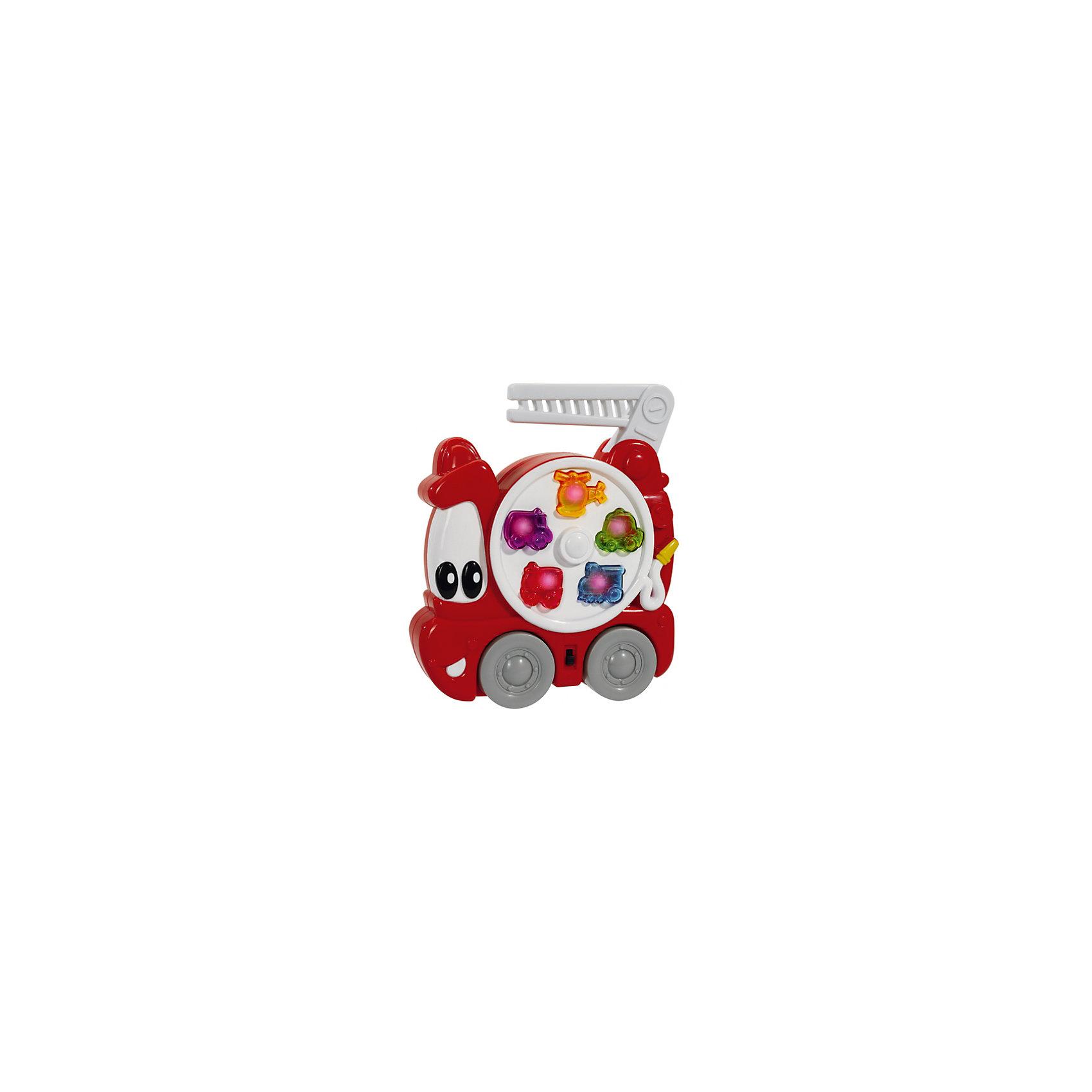 Пожарная машина со светом и звуком, SimbaПожарная машина со светом и звуком, Simba (Симба) – эта забавная красная пожарная машинка с глазками надолго увлечет вашего малыша.<br>Веселая пожарная машина от немецкой компании Simba (Симба) больше похожа на маленькую зверушку, чем на транспортное средство, благодаря своим большим доверчивым глазкам, заменяющим лобовое стекло, и блестящей улыбки вместо бампера. Один из боков игрушки украшает большой белый диск с пятью разноцветными кнопками, оформленных в виде различной автомобильной техники, при нажатии на которые сами кнопочки загораются, воспроизводя различные мелодии или звуки сирены. У машины есть большие колеса, которые крутятся. Возить игрушку можно только за ручку в виде пожарной лестницы, так как форма машины плоская. При желании ребенок может отключить музыку в пожарном автомобиле, дотронувшись до специального переключателя. Игрушка выполнена в ярких цветах их нетоксичного гипоаллергенного пластика. Играя с пожарной машиной, малыш будет развивать координацию движений, восприятие цветов, форм и звуков.<br><br>Дополнительная информация:<br><br>- Размер игрушки: 19 х 15 см.<br>- Материал: высококачественный пластик<br>- Батарейки: 2 х АА 1.5V (включены в комплект)<br>- Размер упаковки: 23 x 20 x 6 см.<br>- Вес: 315 гр.<br><br>Пожарную машину со светом и звуком, Simba (Симба) можно купить в нашем интернет-магазине.<br><br>Ширина мм: 220<br>Глубина мм: 53<br>Высота мм: 196<br>Вес г: 318<br>Возраст от месяцев: 12<br>Возраст до месяцев: 36<br>Пол: Мужской<br>Возраст: Детский<br>SKU: 2246335