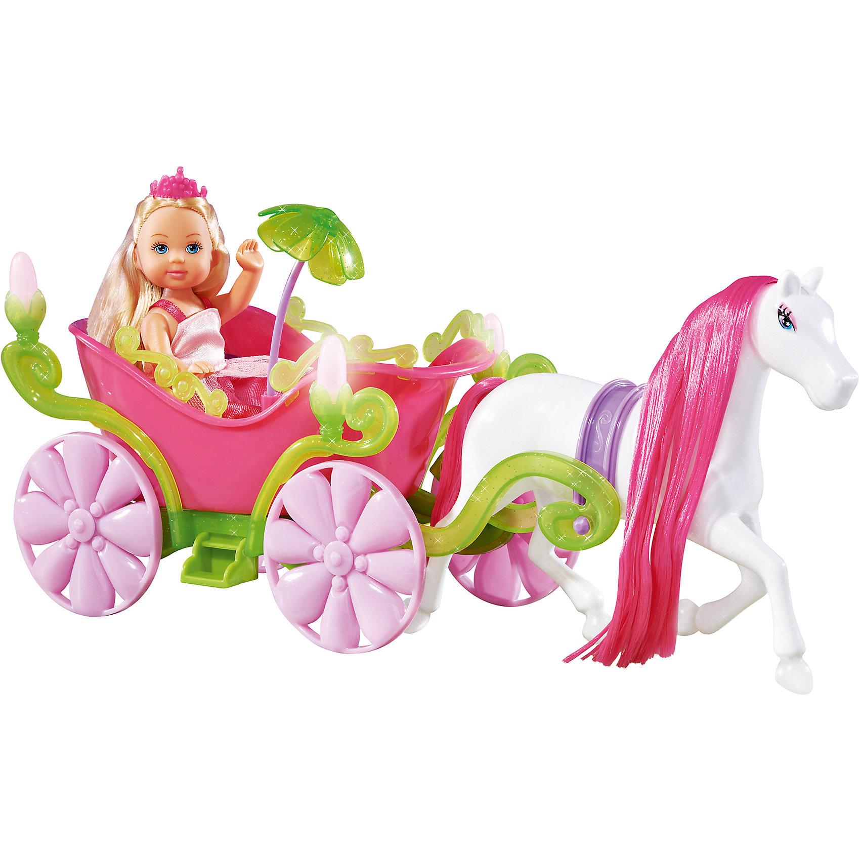 Кукла Еви в карете и лошадь, 12 см, SimbaБренды кукол<br>Характеристики товара:<br><br>- цвет: разноцветный;<br>- материал: пластик;<br>- возраст: от трех лет;<br>- комплектация: кукла, одежда, лошадь, карета;<br>- высота куклы: 12 см.<br><br>Эта симпатичная кукла Еви от известного бренда приводит детей в восторг! Какая девочка сможет отказаться поиграть с куклой, у которой есть лошадь и карета?! В набор входят одежда и лошадь. Игрушка очень качественно выполнена, поэтому она станет замечательным подарком ребенку. <br>Продается набор в красивой удобной упаковке. Игры с куклами помогают девочкам развить важные навыки и отработать модели социального взаимодействия. Изделие произведено из высококачественного материала, безопасного для детей.<br><br>Куклу Еви в карете + лошадь, от бренда Simba можно купить в нашем интернет-магазине.<br><br>Ширина мм: 326<br>Глубина мм: 208<br>Высота мм: 119<br>Вес г: 435<br>Возраст от месяцев: 36<br>Возраст до месяцев: 96<br>Пол: Женский<br>Возраст: Детский<br>SKU: 2246343