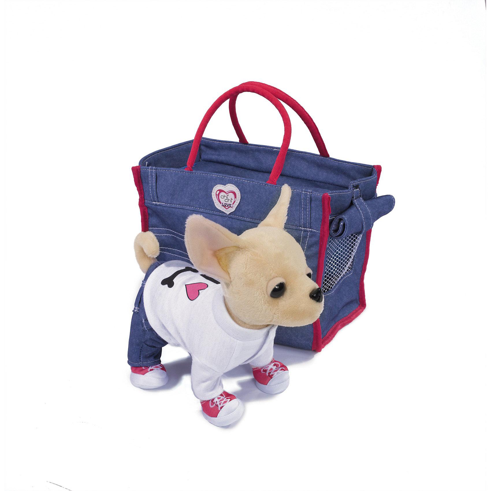 Чихуахуа в джинсах и рубашке, с сумкой, 20 см, Chi Chi LoveПрелестная плюшевая собачка наверняка станет любимицей для вашего ребенка. Собачка одета в модную футболочку, джинсы и кроссовки. Для переноски собачки прилагается модная джинсовая сумочка. Собачку можно также использовать как стильный аксессуар для девочки.<br><br>Дополнительная информация:<br><br>- Размер игрушки: 20 см.<br>- Размер упаковки: 17,5 х 27,5 х 300 см.<br>- Вес: 0,594 кг.<br><br>Порадуйте вашу девочку, подарите ей  прелестную собачку!<br><br>Купить собачку можно в нашем магазине<br><br>Ширина мм: 277<br>Глубина мм: 305<br>Высота мм: 175<br>Вес г: 590<br>Возраст от месяцев: 60<br>Возраст до месяцев: 96<br>Пол: Женский<br>Возраст: Детский<br>SKU: 2246348