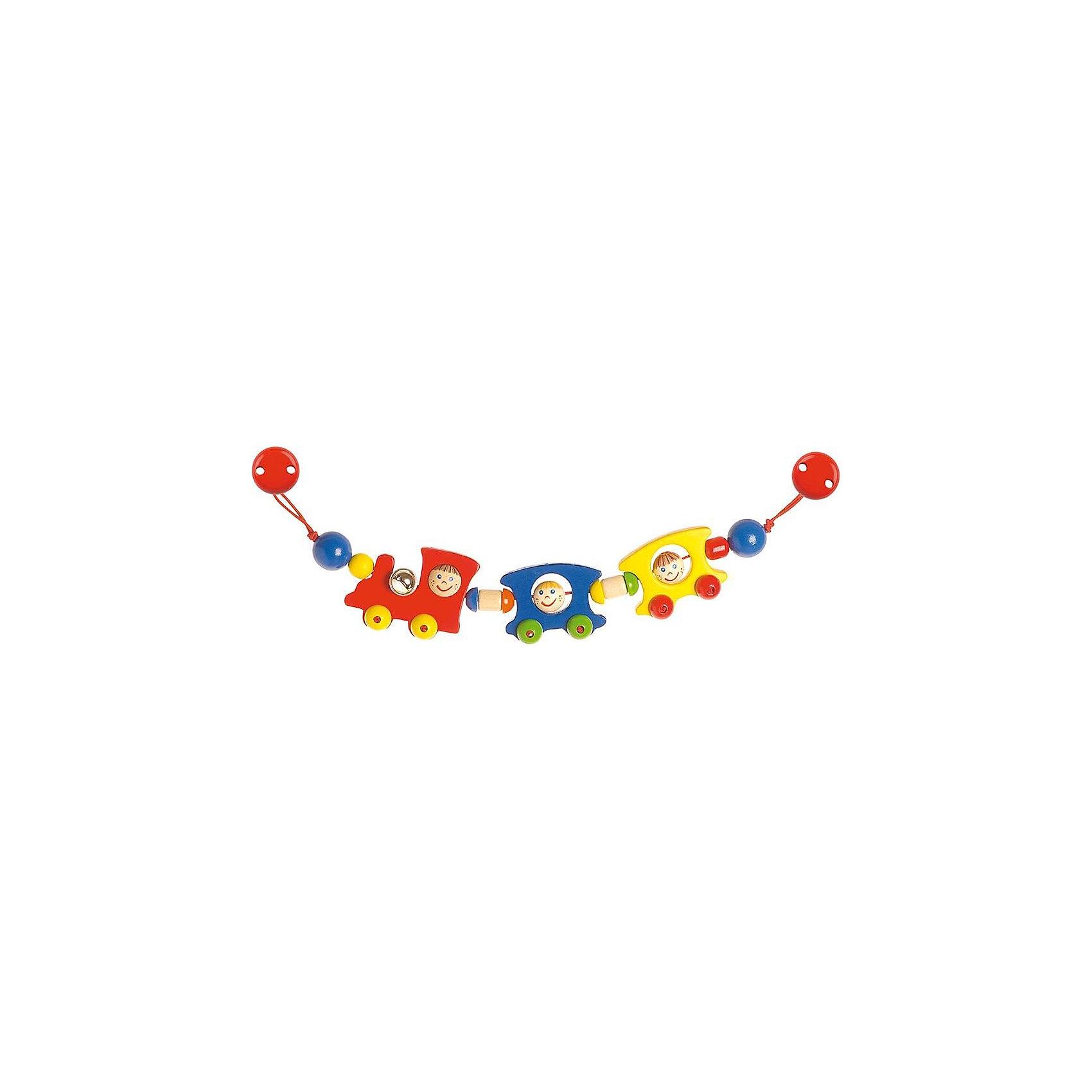 Растяжка на коляску Поезд, HEIMESSHEIMESS Растяжка на коляску с клипсами Паровозик - яркая и красивая игрушка-растяжка  для коляски HEIMESS, выполненная из натурального дерева и окрашенная безопасной для здоровья малышей краской на водной основе.  <br><br>Игрушка может использоваться с рождения.<br><br>Растяжка на клипсах может крепиться не только на коляску, но и на автокресло, а также прикрепляться к любым текстильным поверхностям.<br>У игрушки есть маленький колокольчик. <br><br>Дополнительная информация:<br><br>- Длина 40 см.<br>- Материалы: натуральное дерево и нетоксичные краски, колокольчик.<br><br>Ширина мм: 120<br>Глубина мм: 20<br>Высота мм: 400<br>Вес г: 141<br>Возраст от месяцев: 0<br>Возраст до месяцев: 1188<br>Пол: Унисекс<br>Возраст: Детский<br>SKU: 2250239