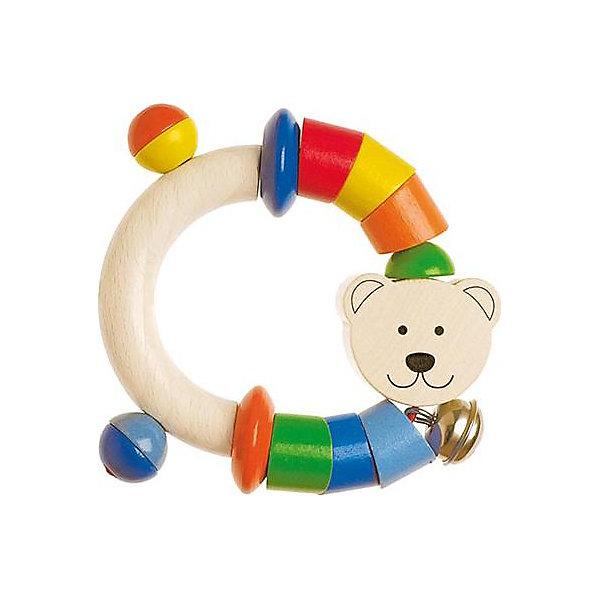 Игрушка-полукольцо  Мишка, HEIMESSИгрушки для новорожденных<br>Игрушка-полукольцо  Мишка, HEIMESS (ХАЙМЕСС) - это качественная, красивая деревянная игрушка для малышей.<br>Игрушка-полукольцо  Мишка от немецкого бренда HEIMESS (ХАЙМЕСС), наверняка, понравится Вашему малышу – эту игрушку так и хочется взять в руки! Она состоит из деревянного полукольца, разноцветных элементов в виде деревянных колечек, дисков и дополнена мордочкой медвежонка и колокольчиком. Колечки и диски скреплены на эластичном шнуре. Игрушка сделана из качественной древесины и покрыта стойкими безопасными красками на водной основе. Благодаря этому ребенок может брать ее в рот. Каждый элемент игрушки хорошо отшлифован, поэтому он гладкий и без сколов. Игрушка-полукольцо  Мишка развивает мелкую моторику рук, ведь малышу будет интересно осмотреть и ощупать маленькими пальчиками разноцветные колечки и диски, услышать приятный звук колокольчика, оттянуть эластичный шнур и понаблюдать, как со звуком он вернется в исходное положение, заставив двигаться детальки. Размер и конструкция игрушки замечательно подходит для маленьких детских ручек, а за деревянное полукольцо очень удобно хвататься. Игрушки от Heimess (Хаймесс) уже больше 50 лет пользуются популярностью у детей и родителей. Они делаются из самых безопасных материалов и тщательно тестируются.<br><br>Дополнительная информация:<br><br>- Возраст: от 0 лет<br>- Материал: древесина, стойкие краски на водной основе<br>- Диаметр: 9,5 см.<br><br>Игрушку-полукольцо  Мишка, HEIMESS (ХАЙМЕСС) можно купить в нашем интернет-магазине.<br><br>Ширина мм: 120<br>Глубина мм: 15<br>Высота мм: 180<br>Вес г: 44<br>Возраст от месяцев: 0<br>Возраст до месяцев: 12<br>Пол: Унисекс<br>Возраст: Детский<br>SKU: 2250256