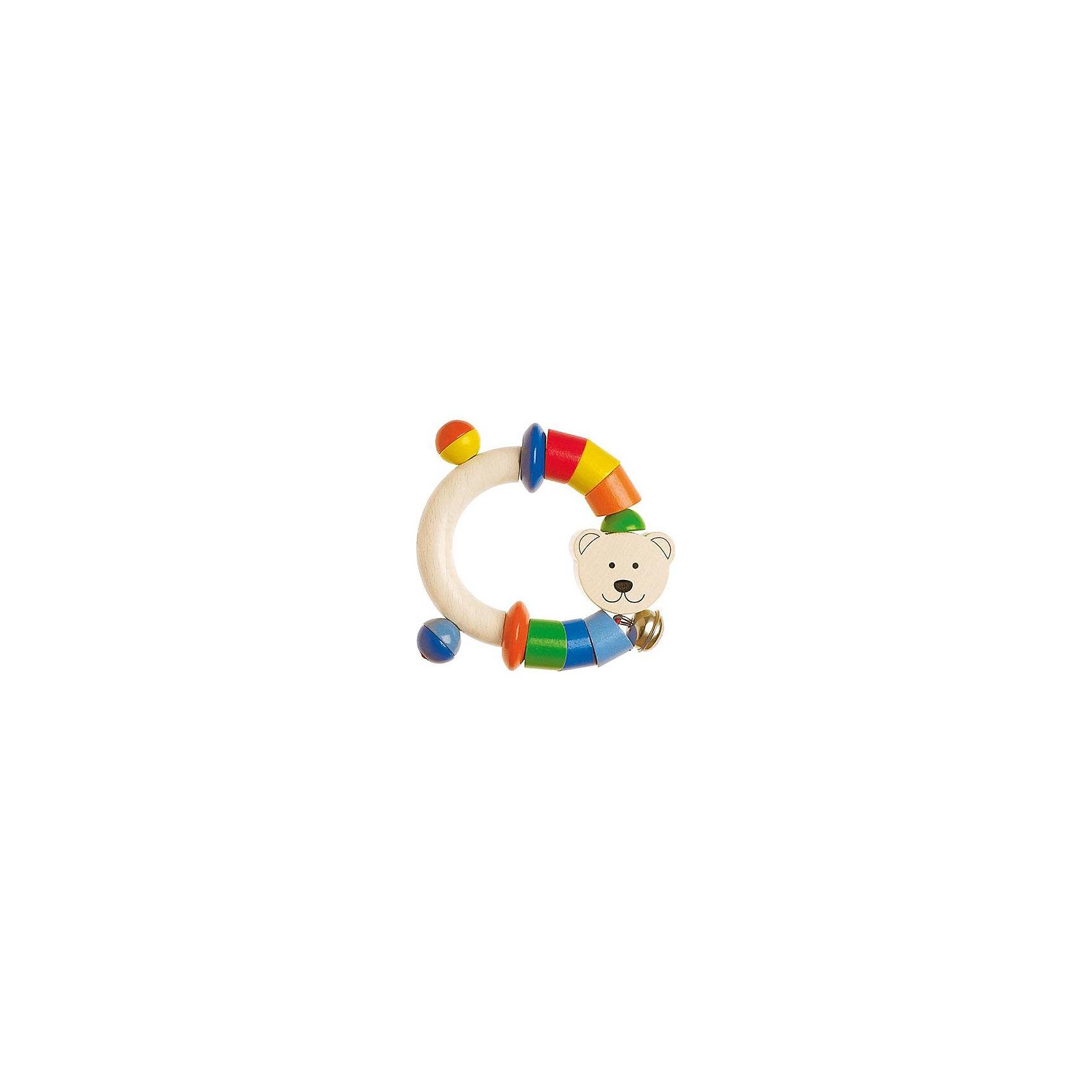 Игрушка-полукольцо  Мишка, HEIMESSИгрушка-полукольцо  Мишка, HEIMESS (ХАЙМЕСС) - это качественная, красивая деревянная игрушка для малышей.<br>Игрушка-полукольцо  Мишка от немецкого бренда HEIMESS (ХАЙМЕСС), наверняка, понравится Вашему малышу – эту игрушку так и хочется взять в руки! Она состоит из деревянного полукольца, разноцветных элементов в виде деревянных колечек, дисков и дополнена мордочкой медвежонка и колокольчиком. Колечки и диски скреплены на эластичном шнуре. Игрушка сделана из качественной древесины и покрыта стойкими безопасными красками на водной основе. Благодаря этому ребенок может брать ее в рот. Каждый элемент игрушки хорошо отшлифован, поэтому он гладкий и без сколов. Игрушка-полукольцо  Мишка развивает мелкую моторику рук, ведь малышу будет интересно осмотреть и ощупать маленькими пальчиками разноцветные колечки и диски, услышать приятный звук колокольчика, оттянуть эластичный шнур и понаблюдать, как со звуком он вернется в исходное положение, заставив двигаться детальки. Размер и конструкция игрушки замечательно подходит для маленьких детских ручек, а за деревянное полукольцо очень удобно хвататься. Игрушки от Heimess (Хаймесс) уже больше 50 лет пользуются популярностью у детей и родителей. Они делаются из самых безопасных материалов и тщательно тестируются.<br><br>Дополнительная информация:<br><br>- Возраст: от 0 лет<br>- Материал: древесина, стойкие краски на водной основе<br>- Диаметр: 9,5 см.<br><br>Игрушку-полукольцо  Мишка, HEIMESS (ХАЙМЕСС) можно купить в нашем интернет-магазине.<br><br>Ширина мм: 120<br>Глубина мм: 15<br>Высота мм: 180<br>Вес г: 44<br>Возраст от месяцев: 0<br>Возраст до месяцев: 12<br>Пол: Унисекс<br>Возраст: Детский<br>SKU: 2250256