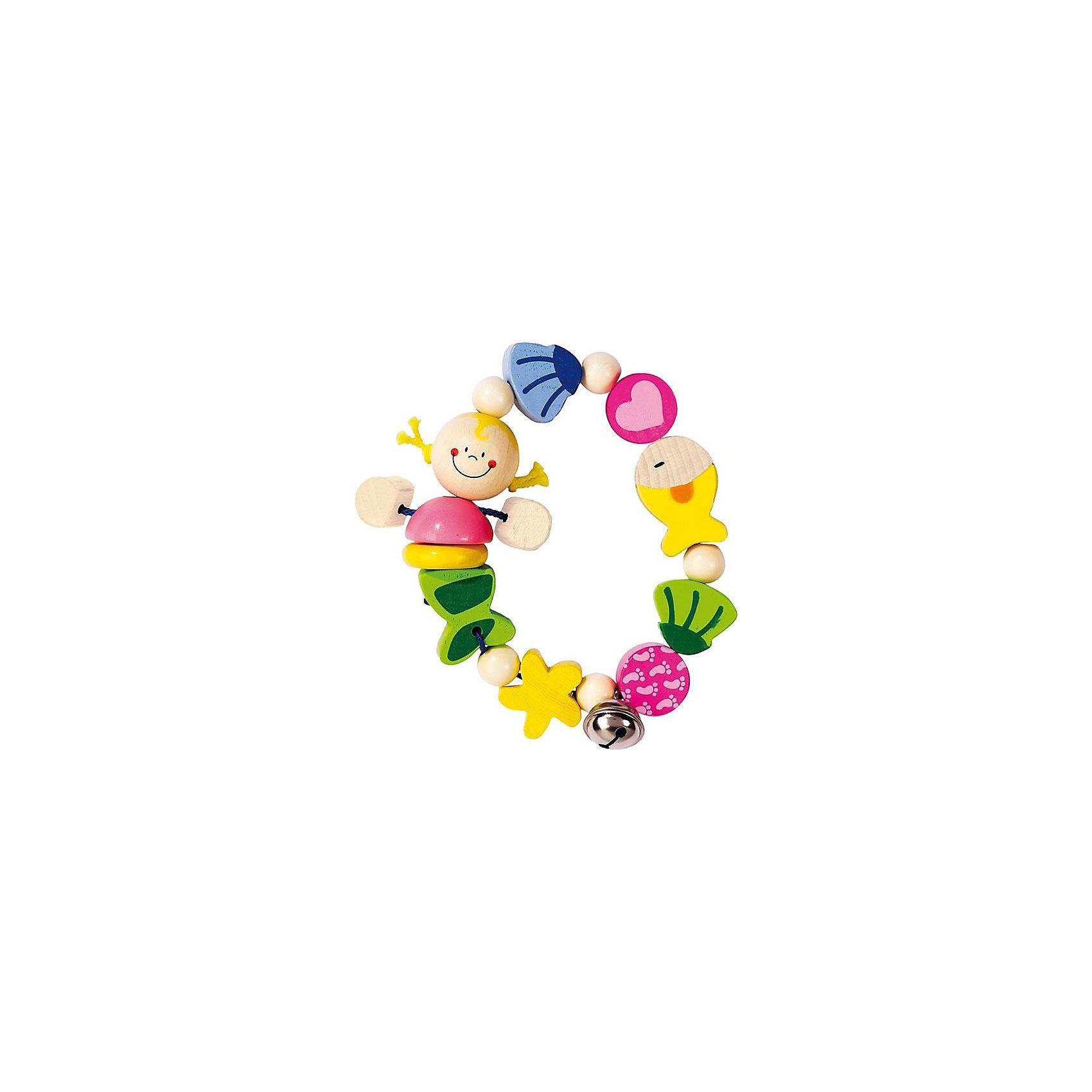Игрушка-кольцо эластик Русалочка, HEIMESSПрорезыватель-погремушка Русалочка HEIMESS  <br><br><br><br>От 0 мес.<br><br>Материалы: дерево, стойкие безопасные краски на водной основе, можно грызть.<br><br>Размеры: диаметр 11 см<br><br>Русалочка, рыбки, ракушки и морская звезда набраны на эластичную резинку и дополнены колокольчиком. Абсолютно безопасные очень стойкие краски на водной основе.<br><br>Ширина мм: 120<br>Глубина мм: 20<br>Высота мм: 180<br>Вес г: 43<br>Возраст от месяцев: 0<br>Возраст до месяцев: 24<br>Пол: Женский<br>Возраст: Детский<br>SKU: 2250266