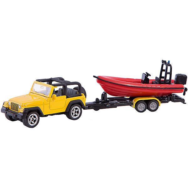 SIKU 1658 Джип с лодкойМашинки<br>Джип с лодкой, Siku, станет прекрасным пополнением коллекции юного любителя автотехники. Модель представляет из себя реалистичную копию настоящего мощного внедорожника Jeep Wrangler в комплекте с красной моторной лодкой. Машинка отличается высокой степенью детализации и тщательной проработкой всех элементов. Джип с открытым верхом оснащен прозрачным лобовым стеклом, в салоне размещены сиденья и руль, имеются передние и задние фары и запасное колесо. Большие вращающиеся колеса обеспечивают высокую проходимость по любой поверхности. В комплект также входит съемный прицеп с лодкой, оснащенной мотором. Модели джипа и лодки с прицепом могут использоваться отдельно. Корпус машинки выполнен из металла, детали изготовлены из ударопрочной пластмассы.<br><br>Дополнительная информация:<br><br>- Материал: металл, пластик.<br>- Размер джипа с прицепом: 19,6 x 7,8 x 4 см.<br>- Размер упаковки: 20 х 8 х 4 см.<br>- Вес с упаковкой: 0,2 кг.<br><br>1658 Джип с лодкой, Siku, можно купить в нашем интернет-магазине.<br>Ширина мм: 197; Глубина мм: 78; Высота мм: 36; Вес г: 77; Возраст от месяцев: 36; Возраст до месяцев: 96; Пол: Мужской; Возраст: Детский; SKU: 2257974;