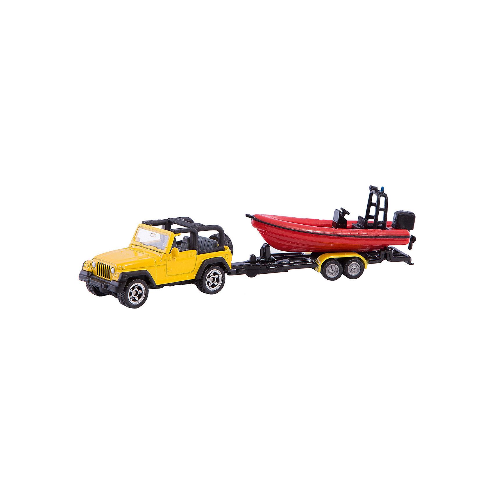 SIKU 1658 Джип с лодкойДжип с лодкой, Siku, станет прекрасным пополнением коллекции юного любителя автотехники. Модель представляет из себя реалистичную копию настоящего мощного внедорожника Jeep Wrangler в комплекте с красной моторной лодкой. Машинка отличается высокой степенью детализации и тщательной проработкой всех элементов. Джип с открытым верхом оснащен прозрачным лобовым стеклом, в салоне размещены сиденья и руль, имеются передние и задние фары и запасное колесо. Большие вращающиеся колеса обеспечивают высокую проходимость по любой поверхности. В комплект также входит съемный прицеп с лодкой, оснащенной мотором. Модели джипа и лодки с прицепом могут использоваться отдельно. Корпус машинки выполнен из металла, детали изготовлены из ударопрочной пластмассы.<br><br>Дополнительная информация:<br><br>- Материал: металл, пластик.<br>- Размер джипа с прицепом: 19,6 x 7,8 x 4 см.<br>- Размер упаковки: 20 х 8 х 4 см.<br>- Вес с упаковкой: 0,2 кг.<br><br>1658 Джип с лодкой, Siku, можно купить в нашем интернет-магазине.<br><br>Ширина мм: 197<br>Глубина мм: 78<br>Высота мм: 36<br>Вес г: 77<br>Возраст от месяцев: 36<br>Возраст до месяцев: 96<br>Пол: Мужской<br>Возраст: Детский<br>SKU: 2257974