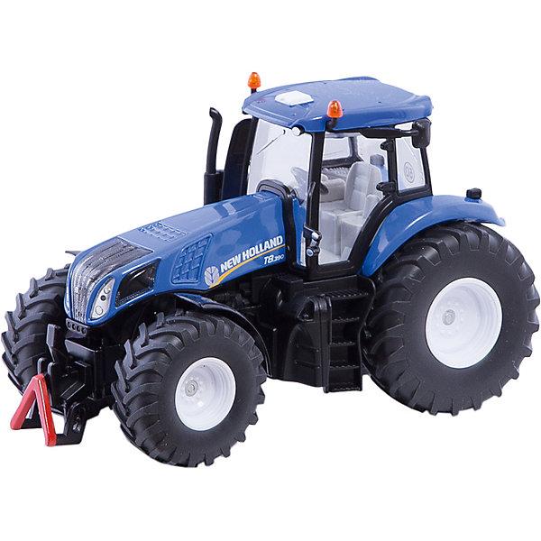 Трактор New Holland, синий (1:32), SIKUМашинки<br>Трактор New Holland, синий (1:32), SIKU (СИКУ)-это довольно крупная масштабная модель настоящего трактора New Holland T8.390(Нью-Холланд). Современный стильный дизайн, глубокий синий цвет и обтекаемая форма. <br><br>Корпус и колеса трактора сделаны из металла, остальные части – из плотной пластмассы. Колеса оснащены рифлеными шинами, что обеспечивает транспорту хорошую проходимость и подвижность. Трактор набирает отличную скорость даже с легкого толчка. Трактор оборудован сцепным устройством совместимым с прицепами и навесным оборудованием SIKU (СИКУ) FARMER соответствующего масштаба. Его кабина легко открепляется от корпуса, открываются боковые двери. Хорошая деталировка интерьера кабины повышает интерес ребенка к игре с трактором. <br><br>Дополнительная информация:<br>-масштаб 1:32<br>-материал: металл, пластик, резина<br>-размеры: 18х10х11,5 см<br> <br>Порадуйте вашего малыша современной и стильной игрушкой. С коллекцией моделей техники от SIKU (СИКУ) вы сможете создать собственный уникальный автопарк.<br><br>Трактор New Holland, синий (1:32), SIKU (СИКУ) можно купить в нашем магазине.<br>Ширина мм: 258; Глубина мм: 154; Высота мм: 106; Вес г: 670; Возраст от месяцев: 36; Возраст до месяцев: 96; Пол: Мужской; Возраст: Детский; SKU: 2258004;