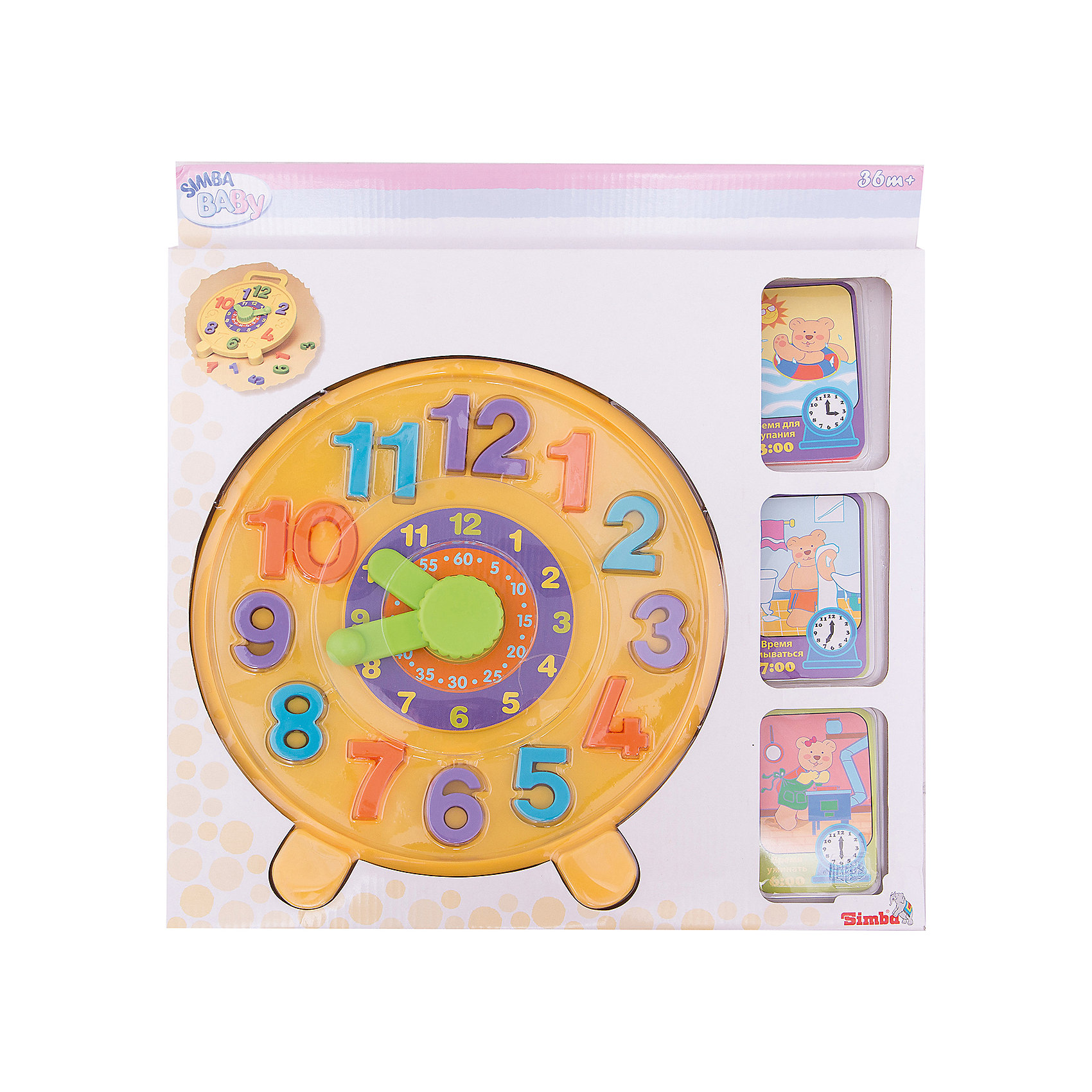 Часики - пазлы, SimbaРазвивающие коврики<br>Характеристики:<br><br>• аксессуары: 12 цифр, 8 карточек;<br>• особенность игрушки: сортер;<br>• материал: картон, пластик;<br>• диаметр часов: 26,5 см;<br>• 40х38х3 см;<br>• вес: 542 г.<br><br>В игровой форме гораздо легче научить малыша ориентироваться по часам. Циферблат с ручкой и стрелочками имеет отверстия, в которые вставляются цифры. Ребенок изучит цифры, действия с ними, научится правильно расставлять цифры от 1 до 12. Карточки с заданиями предлагают малышу изобразить стрелочками, который сейчас час. <br><br>Часики - пазлы, Simba можно купить в нашем магазине.<br><br>Ширина мм: 380<br>Глубина мм: 30<br>Высота мм: 400<br>Вес г: 429<br>Возраст от месяцев: 12<br>Возраст до месяцев: 48<br>Пол: Унисекс<br>Возраст: Детский<br>SKU: 2261027