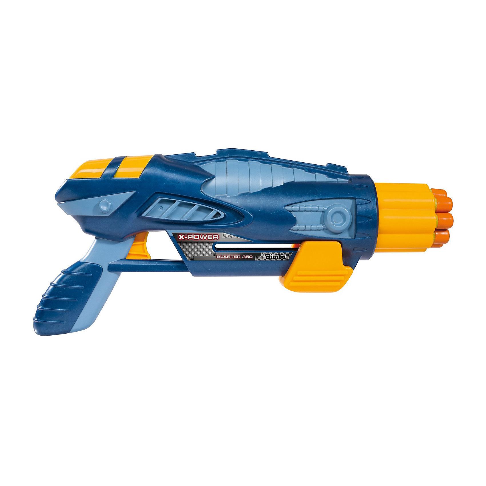 Simba Бластер Х-Пауэр, в ассортиментеИгрушечное оружие<br>Бластер Simba с эффектным дизайном очень порадует вашего ребенка. В наборе ружье и 8 патронов. Дальность полета патронов - 10 м. С таким бластером Ваш ребенок станет настоящим звездным воином!<br><br>Дополнительная информация:<br><br>- Материал: высококачественная пластмасса<br>- Размер игрушки: 35 см.<br>- Размер упаковки: 38 х 6,8 х 20 м.<br>- Вес: 0,600 кг.<br>- Цвет в ассортименте. <br><br>Игрушка развивает меткость, хороший глазомер и ловкость<br>купить бластер можно в нашем магазине<br><br>ВНИМАНИЕ! Данный артикул имеется в наличии в разных цветовых исполнениях (сине-голубой и черно-серый). К сожалению, заранее выбрать определенный цвет не возможно.<br><br>Ширина мм: 385<br>Глубина мм: 70<br>Высота мм: 205<br>Вес г: 668<br>Возраст от месяцев: 36<br>Возраст до месяцев: 2147483647<br>Пол: Мужской<br>Возраст: Детский<br>SKU: 2261073