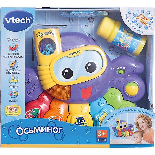 Игрушка для ванной Осьминог , VtechИгрушки для ванной<br>Игрушка для ванной Осьминог, Vtech (Втеч).<br><br>Характеристики:<br><br>• Для детей от 3 лет<br>• Комплектация: осьминог, мыльная жидкость<br>• Особенности: водонепроницаема; выбор программ; кнопки с фигурами; резервуар для мыльной жидкости; автоматическая генерация пузырьков; светящаяся кнопка, вращающийся шарик, таймер автоматического отключения<br>• Обучение: названия морских животных, музыкальных инструментов, фигур<br>• Материал: пластик<br>• Батарейки: 4 типа АА (в комплекте демонстрационные)<br>• Упаковка: красочная подарочная коробка<br>• Размер упаковки: 31х12х28 см.<br><br>Осьминог от французской компании Vtech – восхитительная игрушка для ванны, с которой купание вашего малыша будет не только веселым, но и познавательным! Красочный и яркий осьминог крепится к кафелю или стенке ванны с помощью присосок. При нажатии на разноцветные кнопочки пианино осьминог может рассказать малышу, как называются морские животные, геометрические фигуры и цвета. <br><br>Но и это еще не всё! При помощи специального резервуара для мыльной воды, осьминог будет сам пускать пузыри, чем приведет малыша в восторг. С помощью режима вопросов можно будет закрепить полученные знания, ну а веселые мелодии и одобряющие фразы сделают игру еще интереснее. Игрушка изготовлена из прочного безопасного пластика. Продается в красочной коробке и идеально подходит в качестве подарка.<br><br>Игрушку для ванной Осьминог, Vtech (Втеч) можно купить в нашем интернет-магазине.<br><br>Ширина мм: 120<br>Глубина мм: 310<br>Высота мм: 280<br>Вес г: 1630<br>Возраст от месяцев: 6<br>Возраст до месяцев: 36<br>Пол: Унисекс<br>Возраст: Детский<br>SKU: 2263132