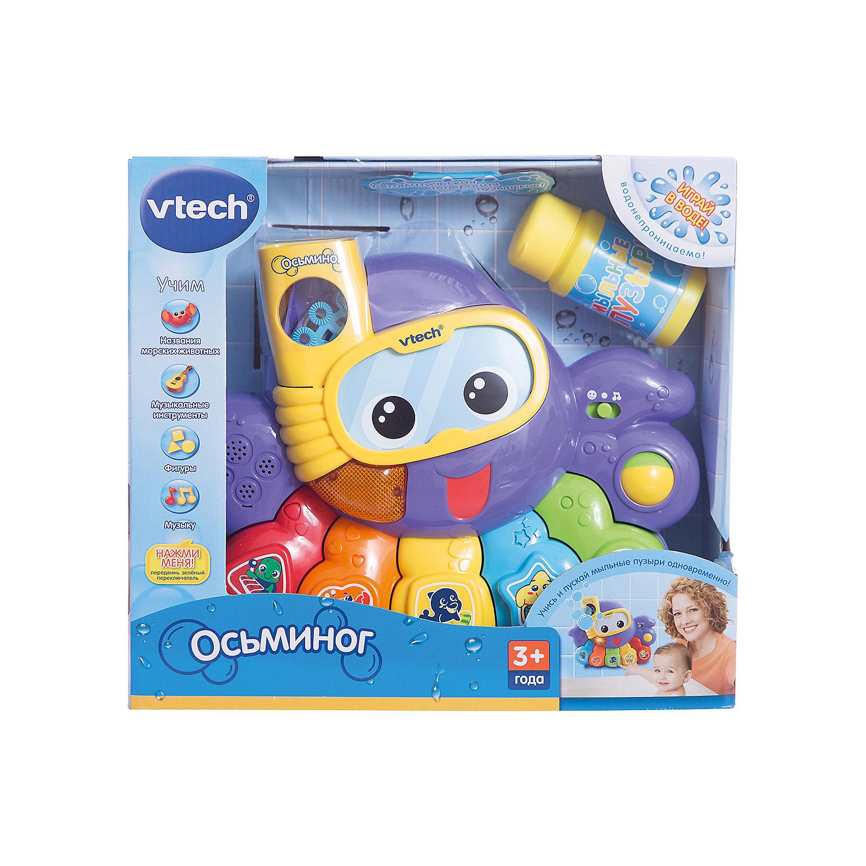 Игрушка для ванной Осьминог , VtechИгрушки для купания<br>Игрушка для ванной Осьминог, Vtech (Втеч).<br><br>Характеристики:<br><br>• Для детей от 3 лет<br>• Комплектация: осьминог, мыльная жидкость<br>• Особенности: водонепроницаема; выбор программ; кнопки с фигурами; резервуар для мыльной жидкости; автоматическая генерация пузырьков; светящаяся кнопка, вращающийся шарик, таймер автоматического отключения<br>• Обучение: названия морских животных, музыкальных инструментов, фигур<br>• Материал: пластик<br>• Батарейки: 4 типа АА (в комплекте демонстрационные)<br>• Упаковка: красочная подарочная коробка<br>• Размер упаковки: 31х12х28 см.<br><br>Осьминог от французской компании Vtech – восхитительная игрушка для ванны, с которой купание вашего малыша будет не только веселым, но и познавательным! Красочный и яркий осьминог крепится к кафелю или стенке ванны с помощью присосок. При нажатии на разноцветные кнопочки пианино осьминог может рассказать малышу, как называются морские животные, геометрические фигуры и цвета. <br><br>Но и это еще не всё! При помощи специального резервуара для мыльной воды, осьминог будет сам пускать пузыри, чем приведет малыша в восторг. С помощью режима вопросов можно будет закрепить полученные знания, ну а веселые мелодии и одобряющие фразы сделают игру еще интереснее. Игрушка изготовлена из прочного безопасного пластика. Продается в красочной коробке и идеально подходит в качестве подарка.<br><br>Игрушку для ванной Осьминог, Vtech (Втеч) можно купить в нашем интернет-магазине.<br><br>Ширина мм: 120<br>Глубина мм: 310<br>Высота мм: 280<br>Вес г: 1630<br>Возраст от месяцев: 6<br>Возраст до месяцев: 36<br>Пол: Унисекс<br>Возраст: Детский<br>SKU: 2263132